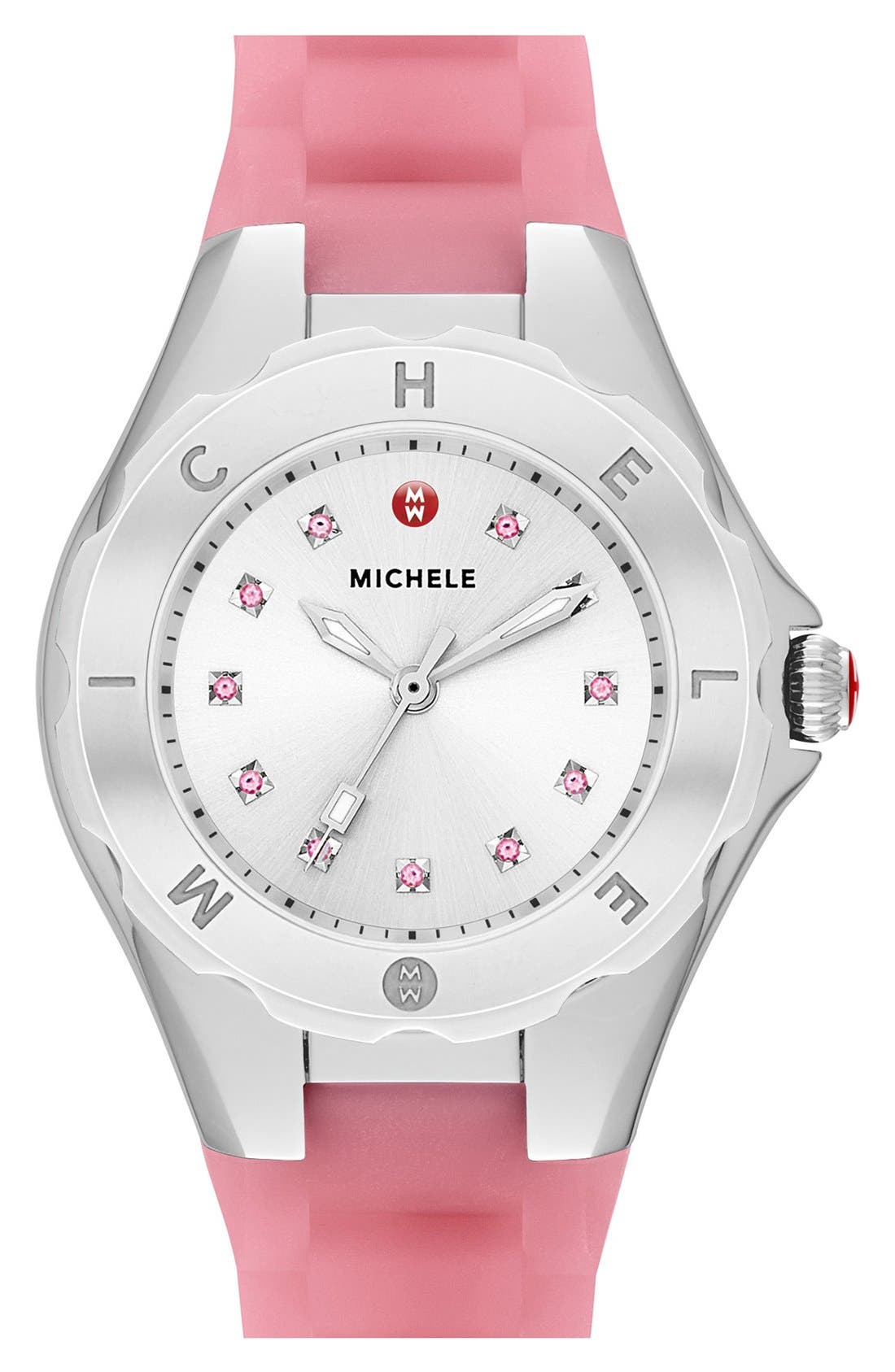 Alternate Image 1 Selected - MICHELE 'Tahitian Jelly Bean' Silicone Strap Watch, 40mm
