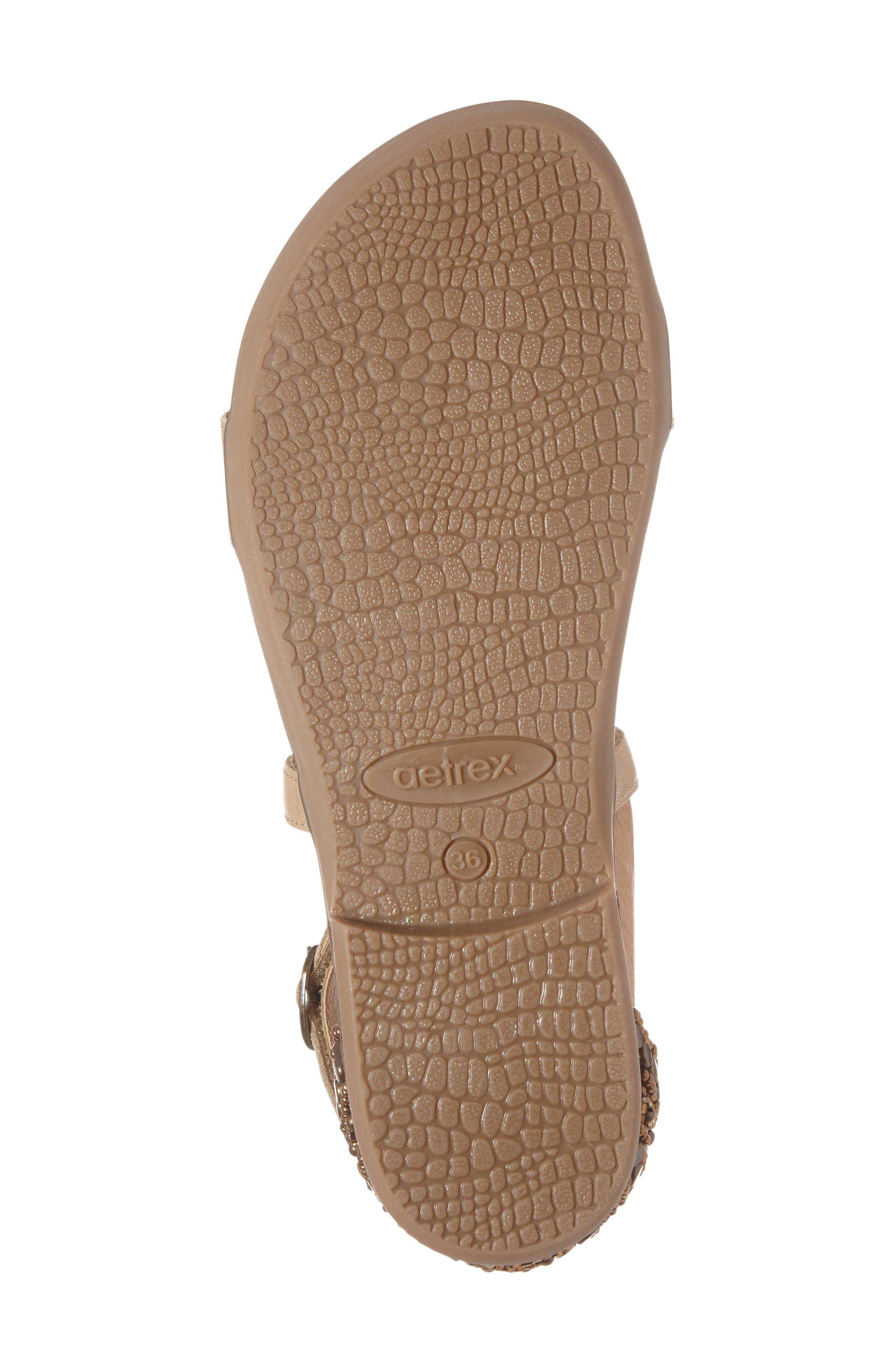Brenda Embellished Cross Strap Sandal,                             Alternate thumbnail 6, color,                             Stone Leather