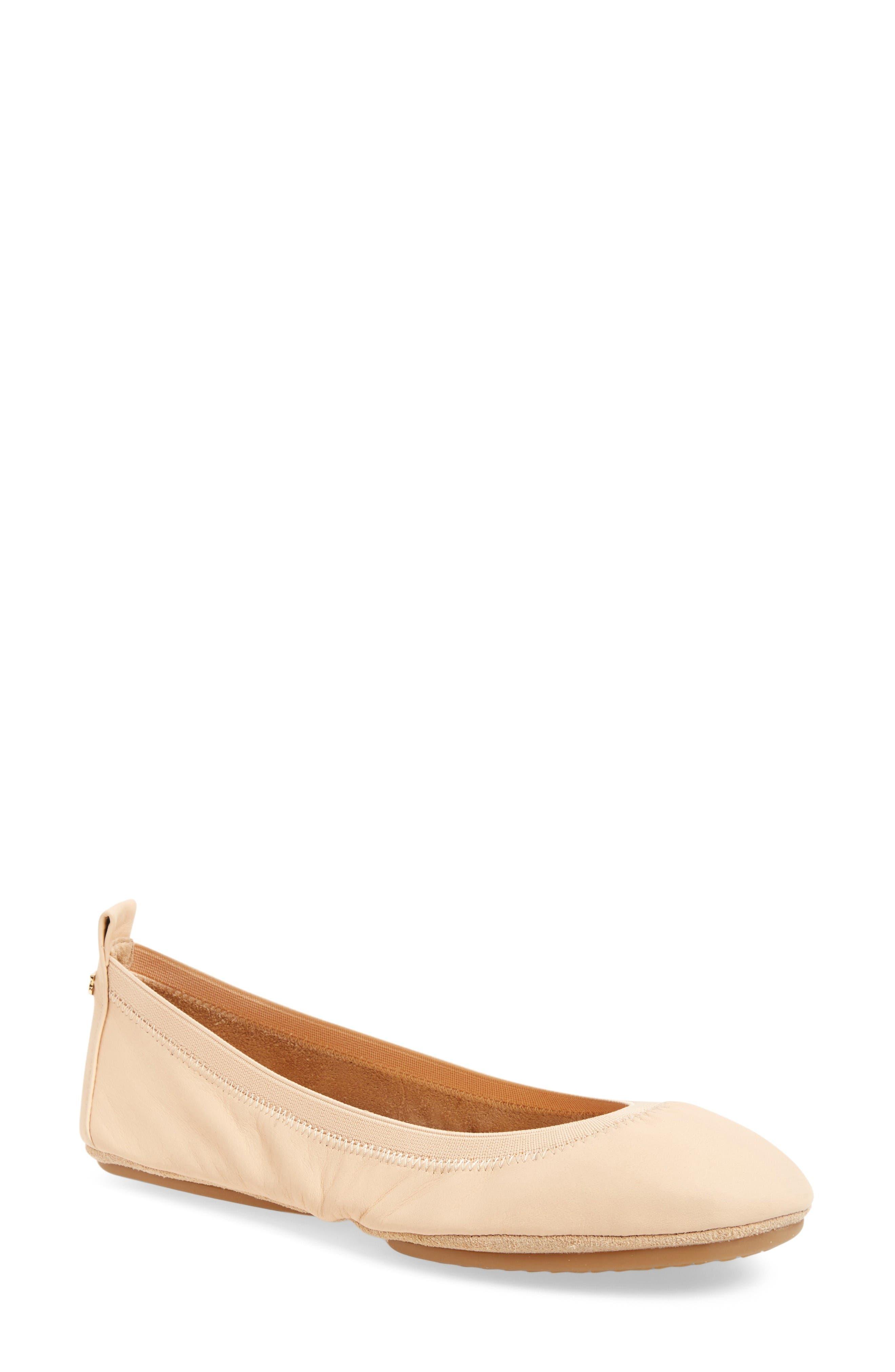 Samara Foldable Ballet Flat,                         Main,                         color, Nude Leather