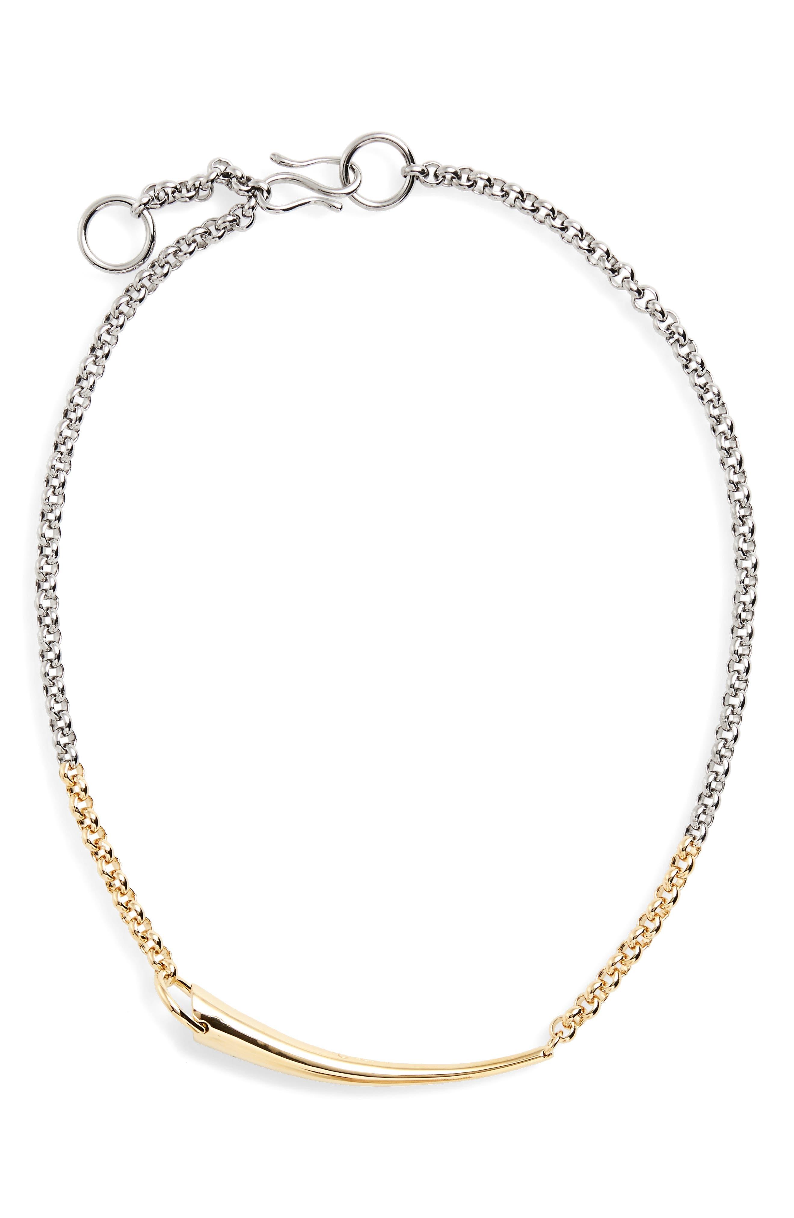 Alki Vermeil Necklace,                         Main,                         color, Silver/Yellow/Vermeil