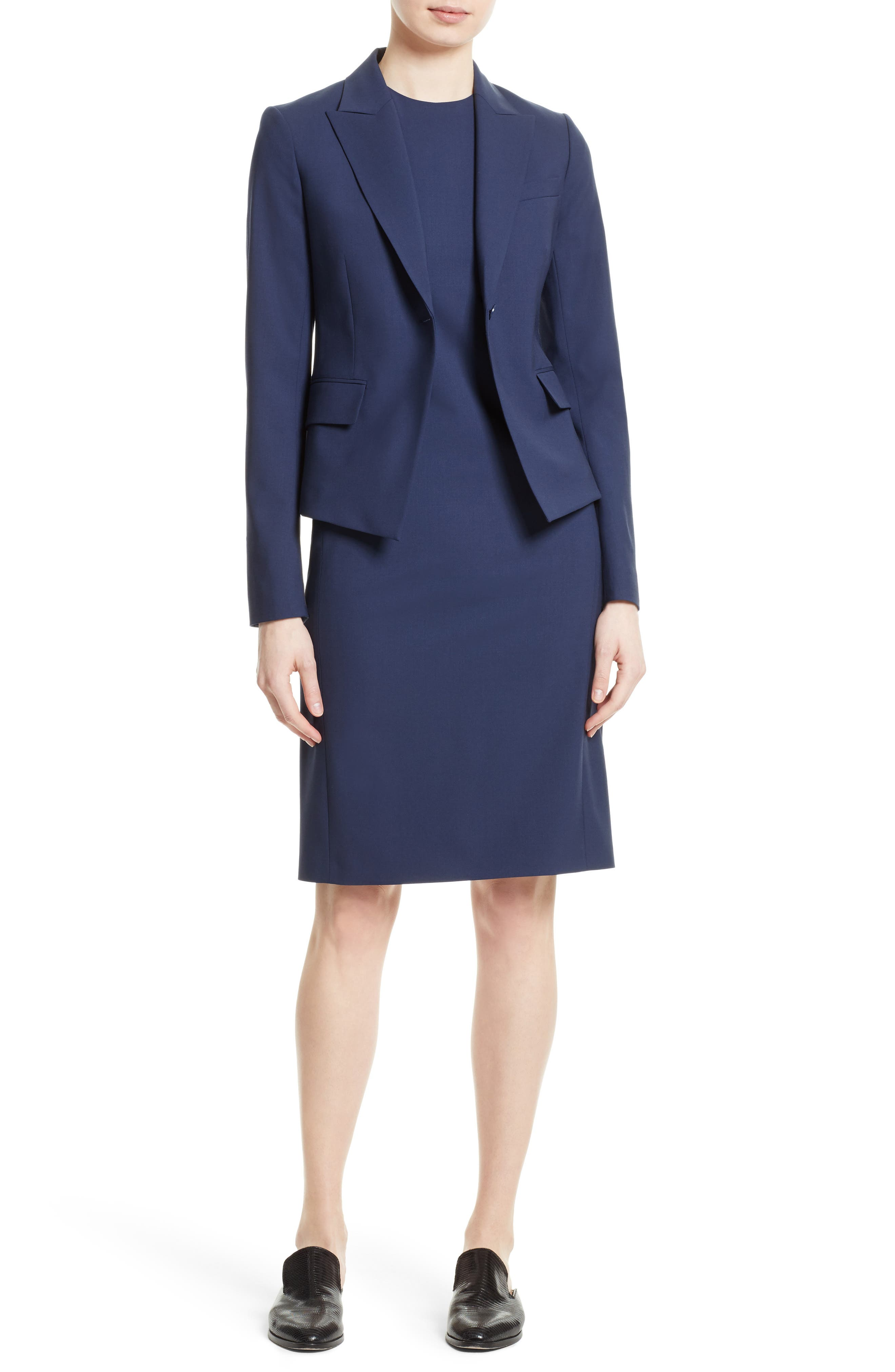 Theory Jacket & Dress Outfit with Accessories