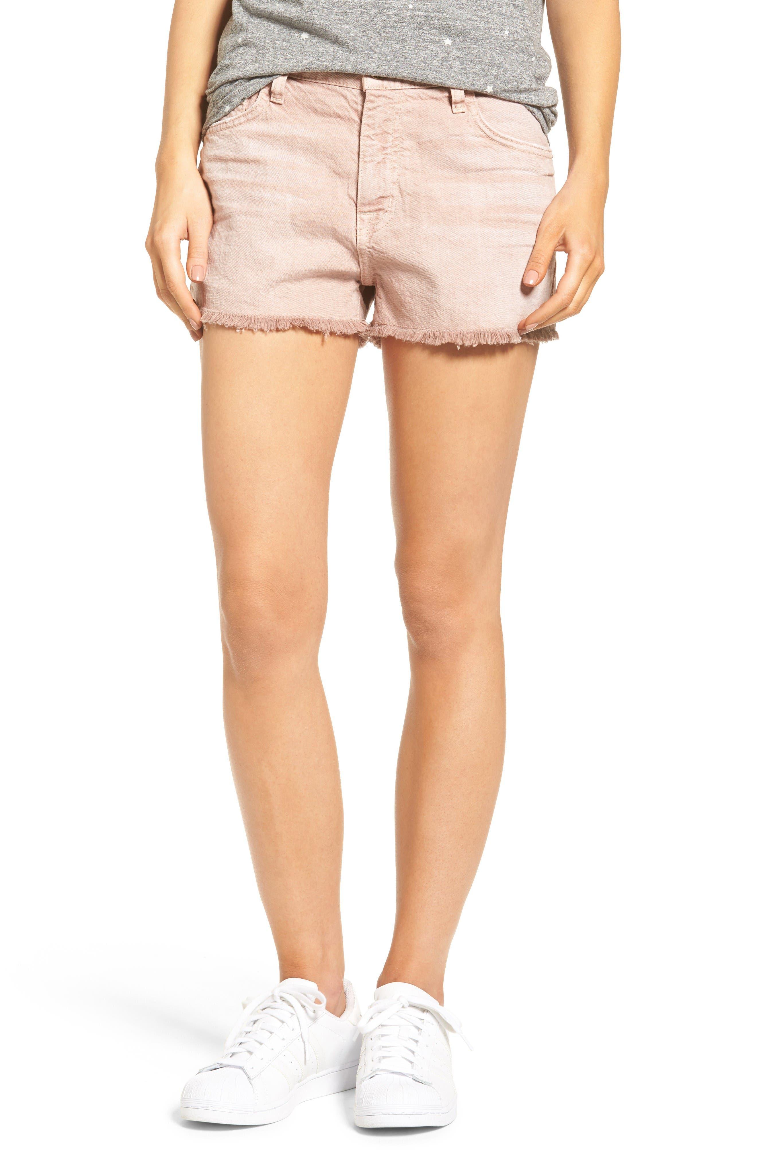 Current/Elliott The Boyfriend High Waist Denim Shorts (Rose Dust)