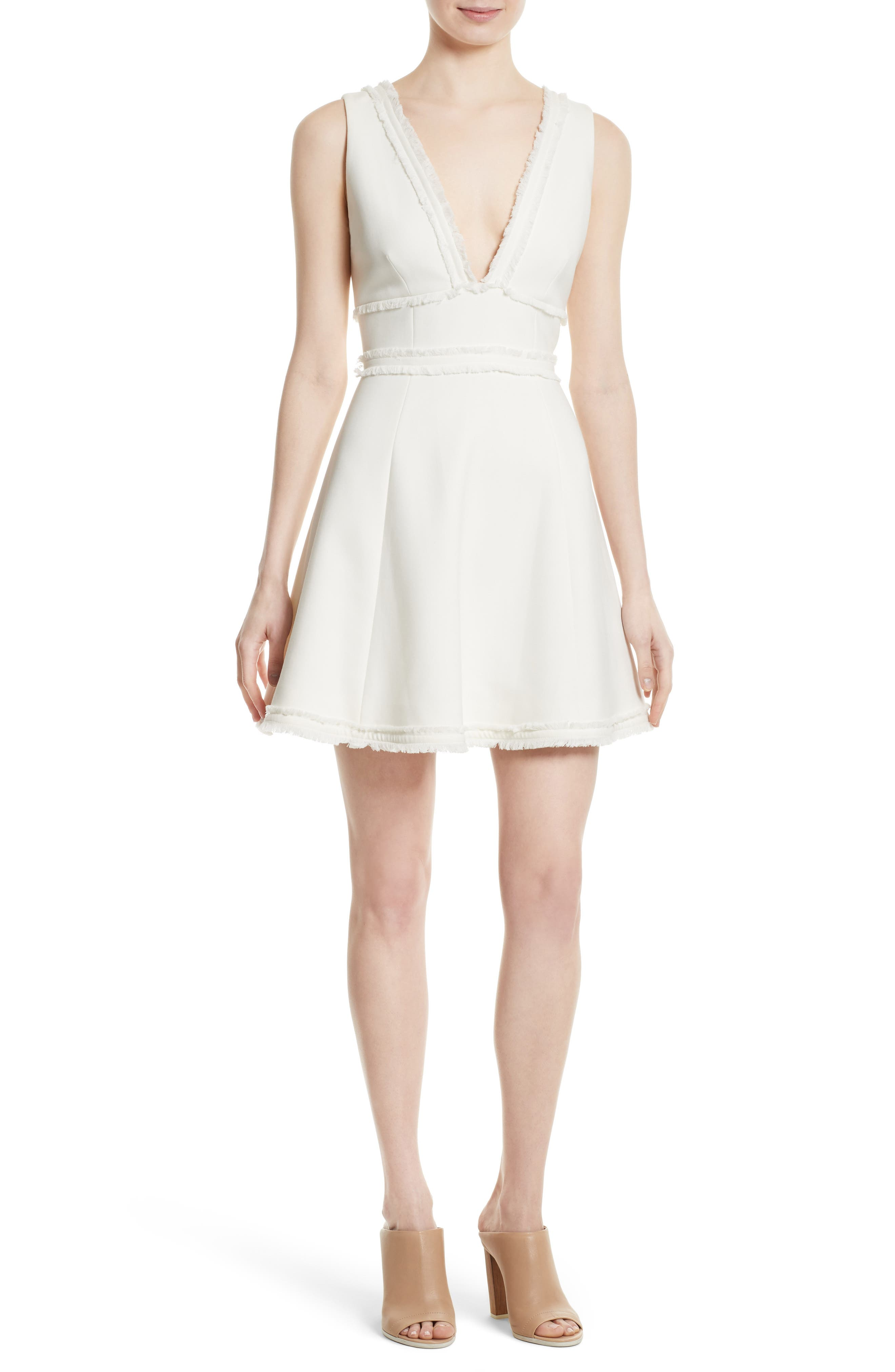 Aurora Fringe Trim Fit & Flare Dress,                         Main,                         color, Ivory