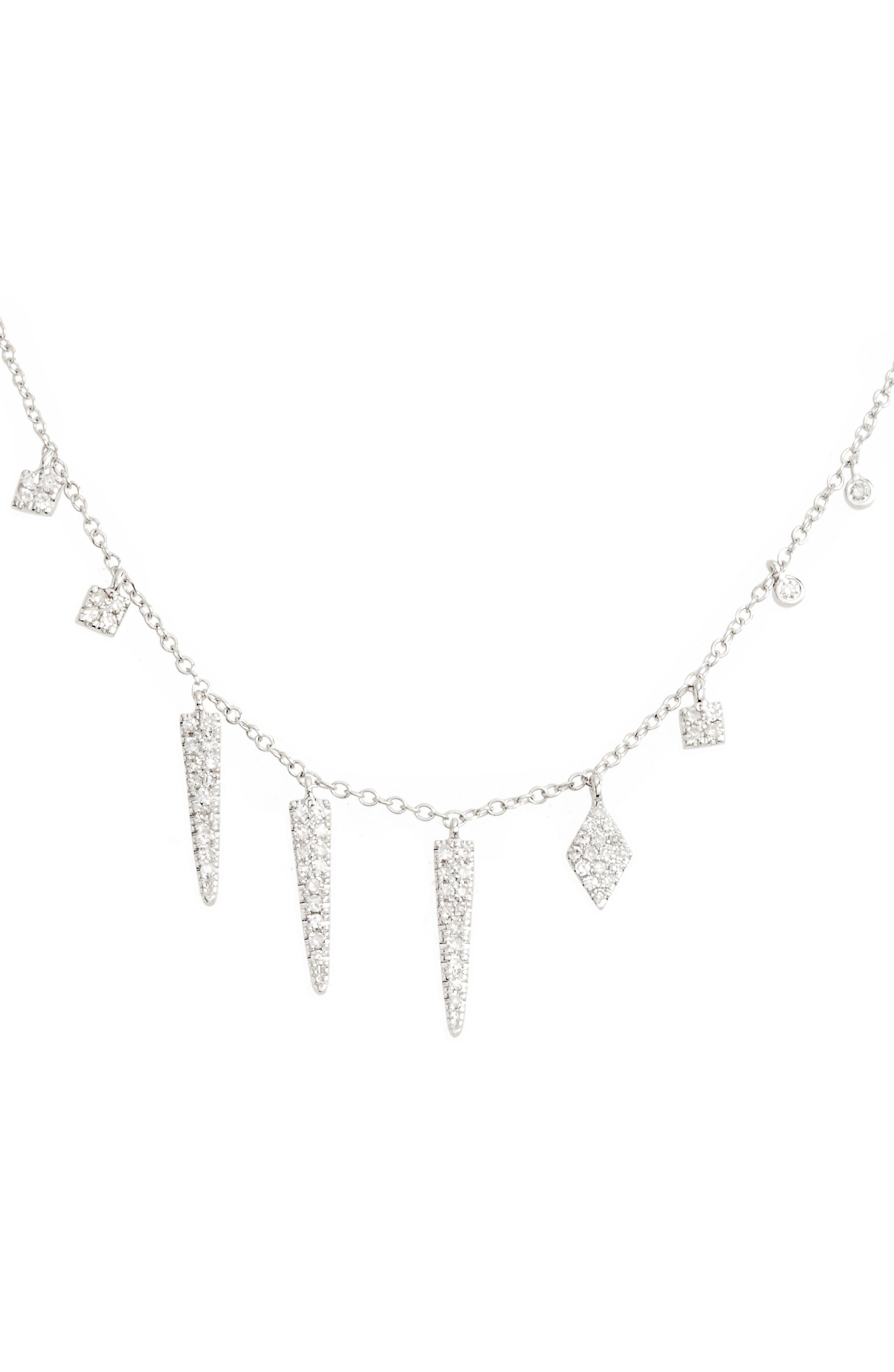 Diamond Spike Dangle Charm Necklace,                         Main,                         color, White Gold