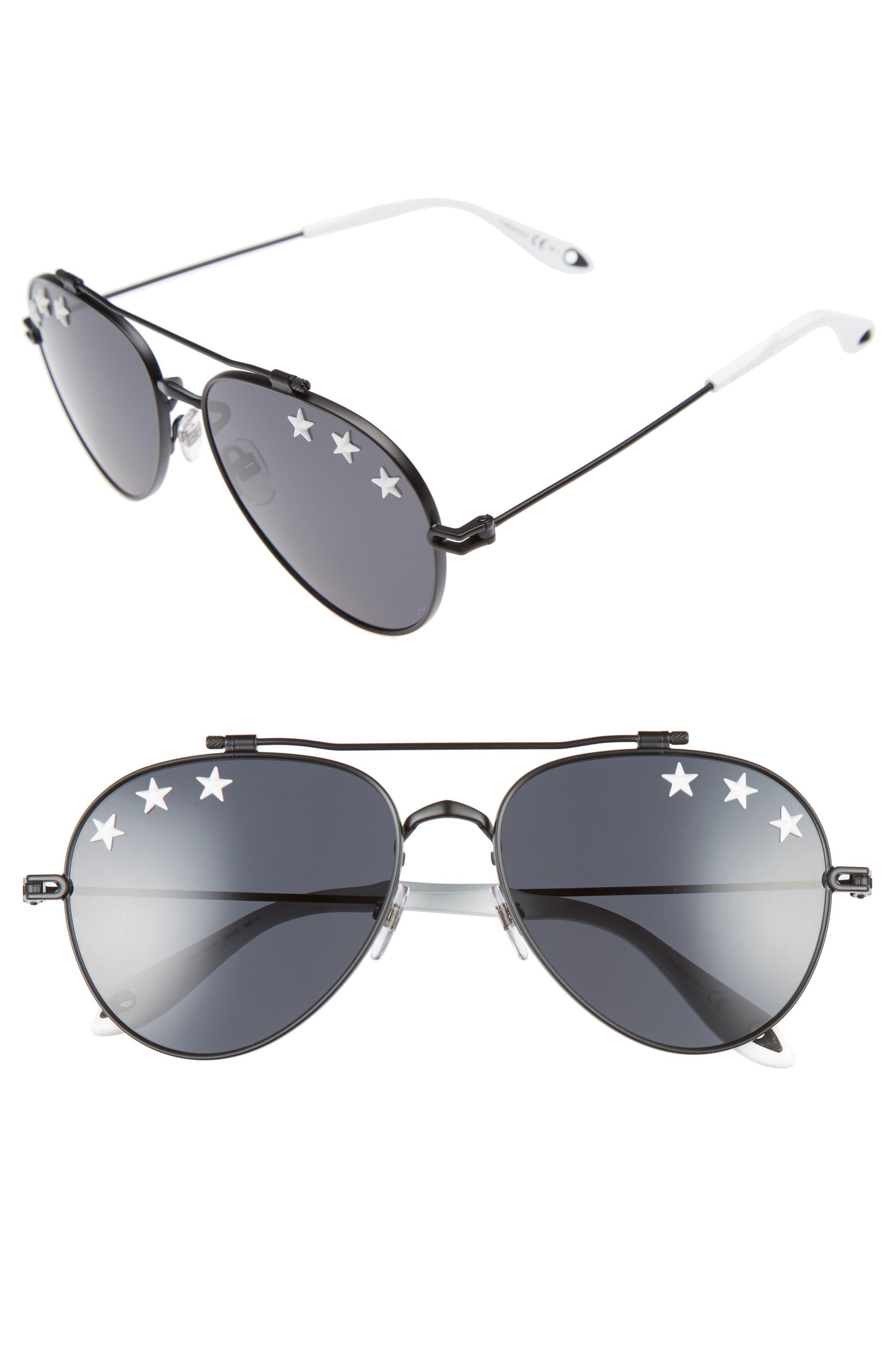 Star Detail 58mm Mirrored Aviator Sunglasses,                         Main,                         color, Black/ Black