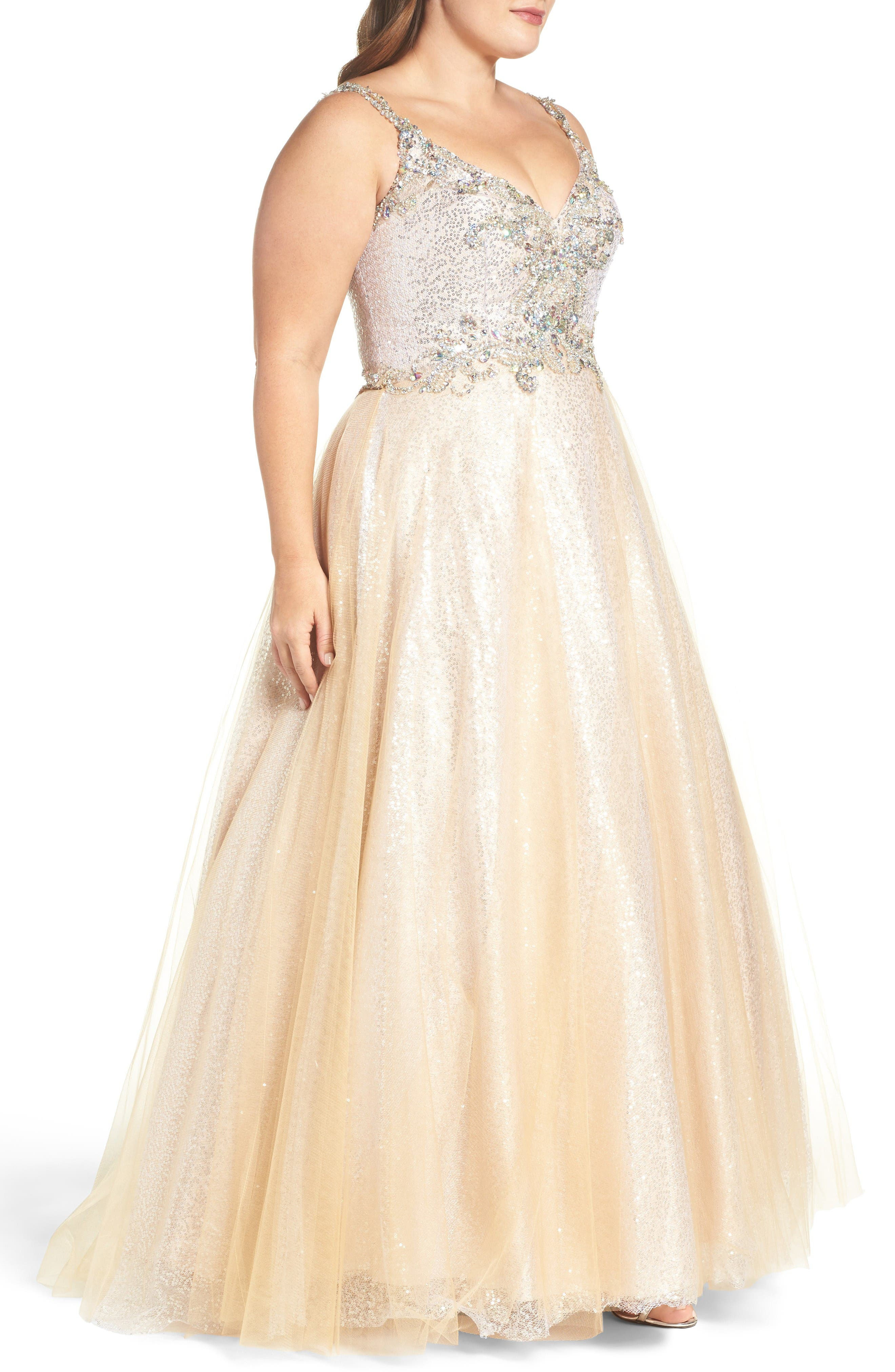 Beaded Tulle Ballgown,                             Alternate thumbnail 3, color,                             Nude/ Silver