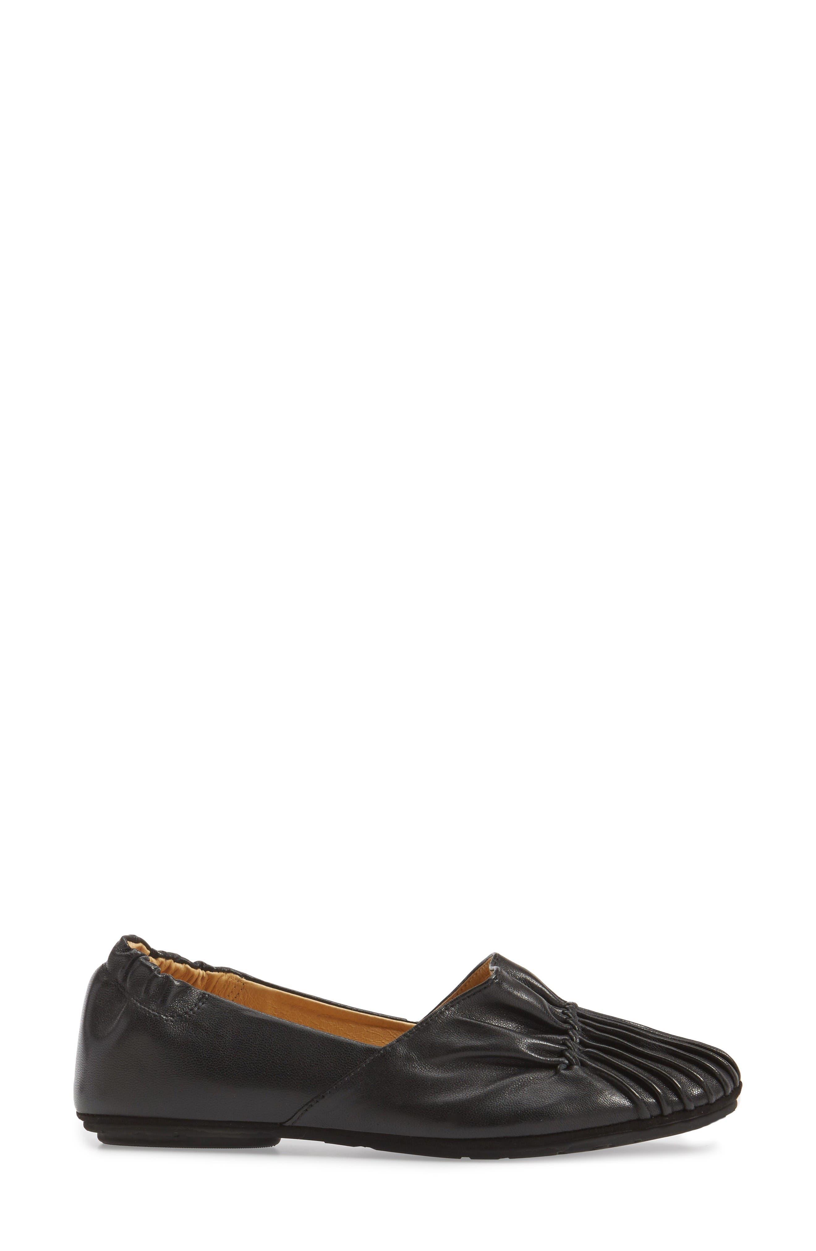 Seamed Flat,                             Alternate thumbnail 3, color,                             Black Leather