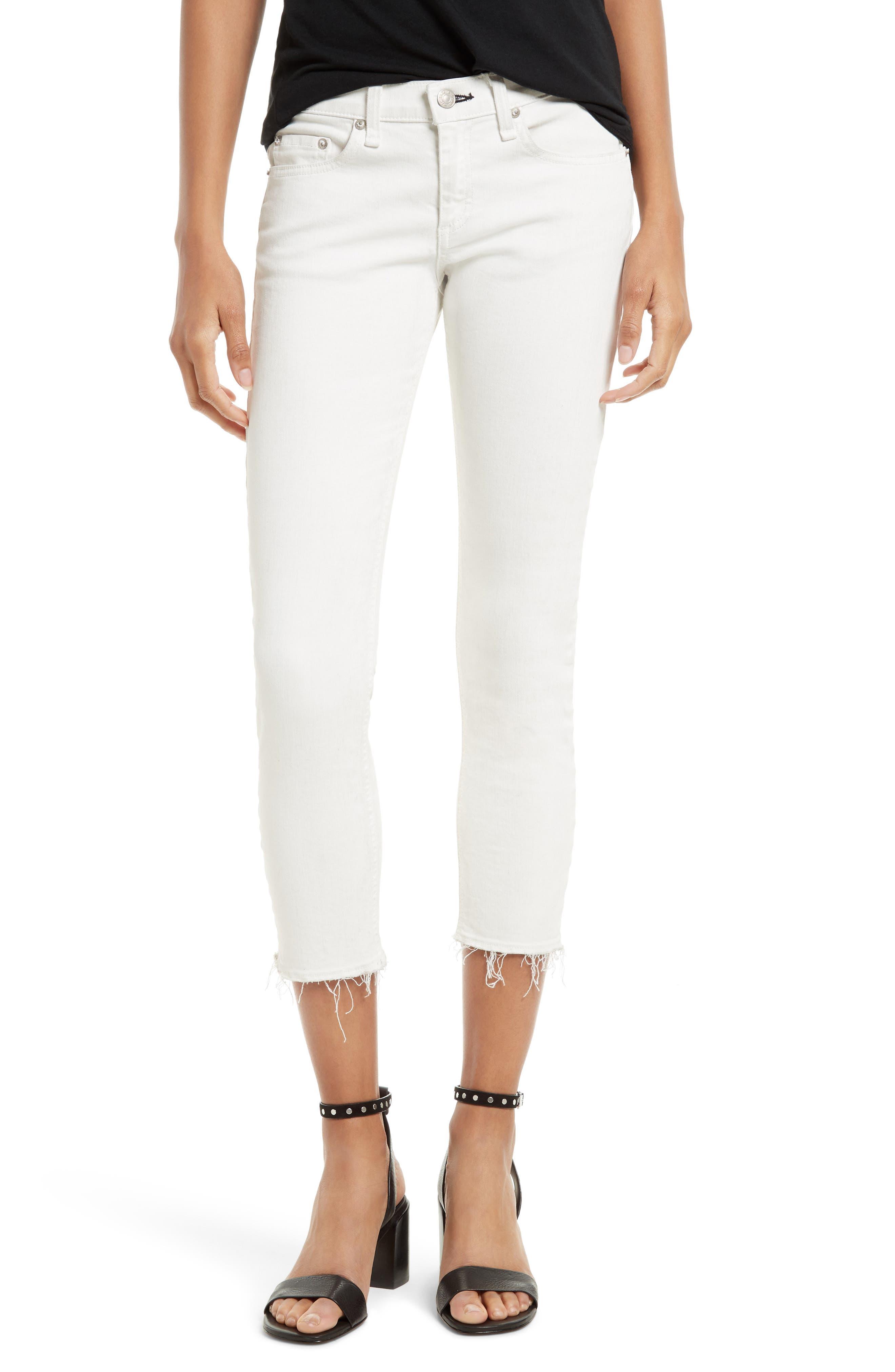 Main Image - rag & bone/JEAN Capri Skinny Jeans (Blanc with Fray)