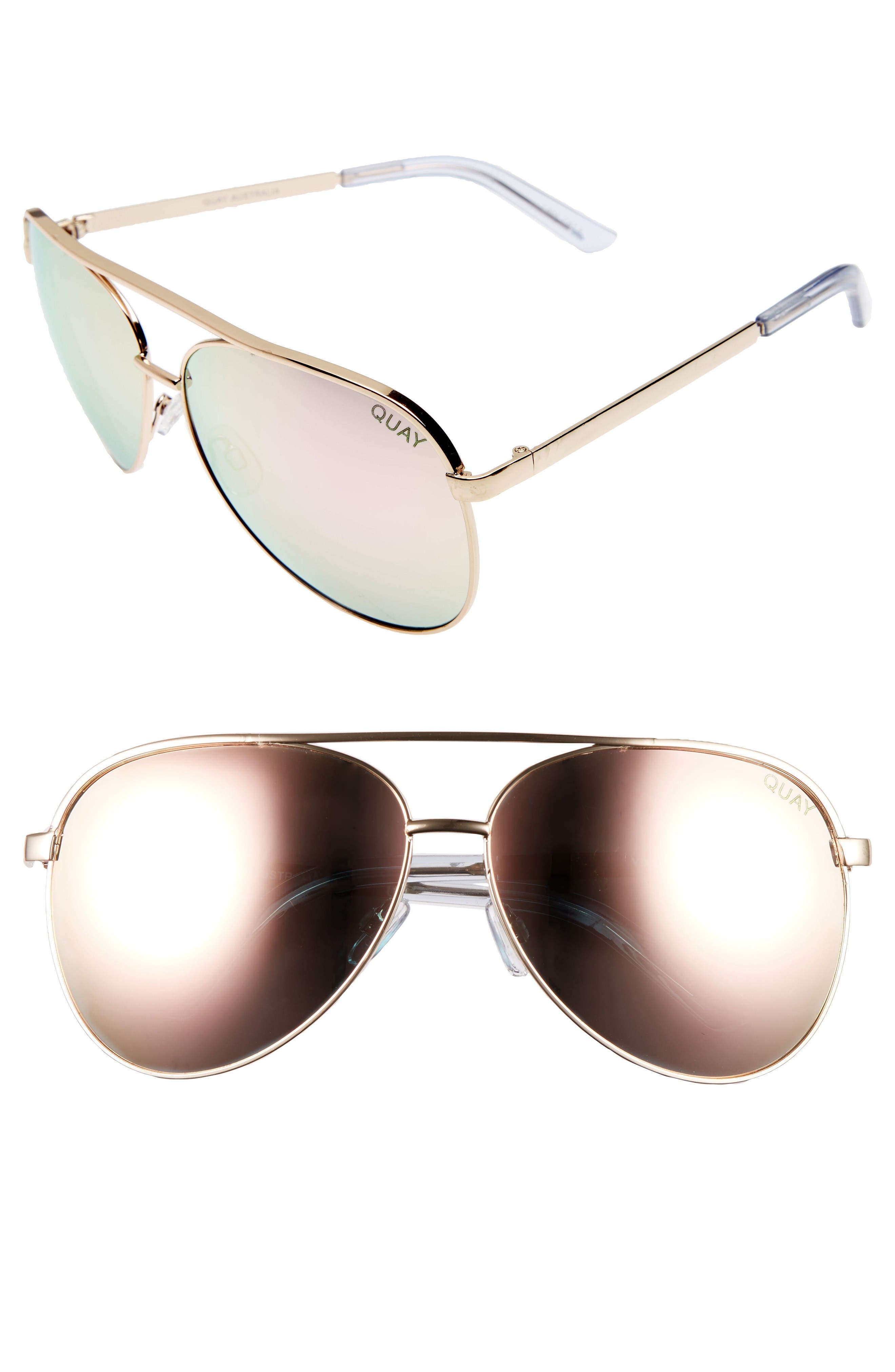 Vivienne 64mm Aviator Sunglasses,                         Main,                         color, Gold / Rose Mirror