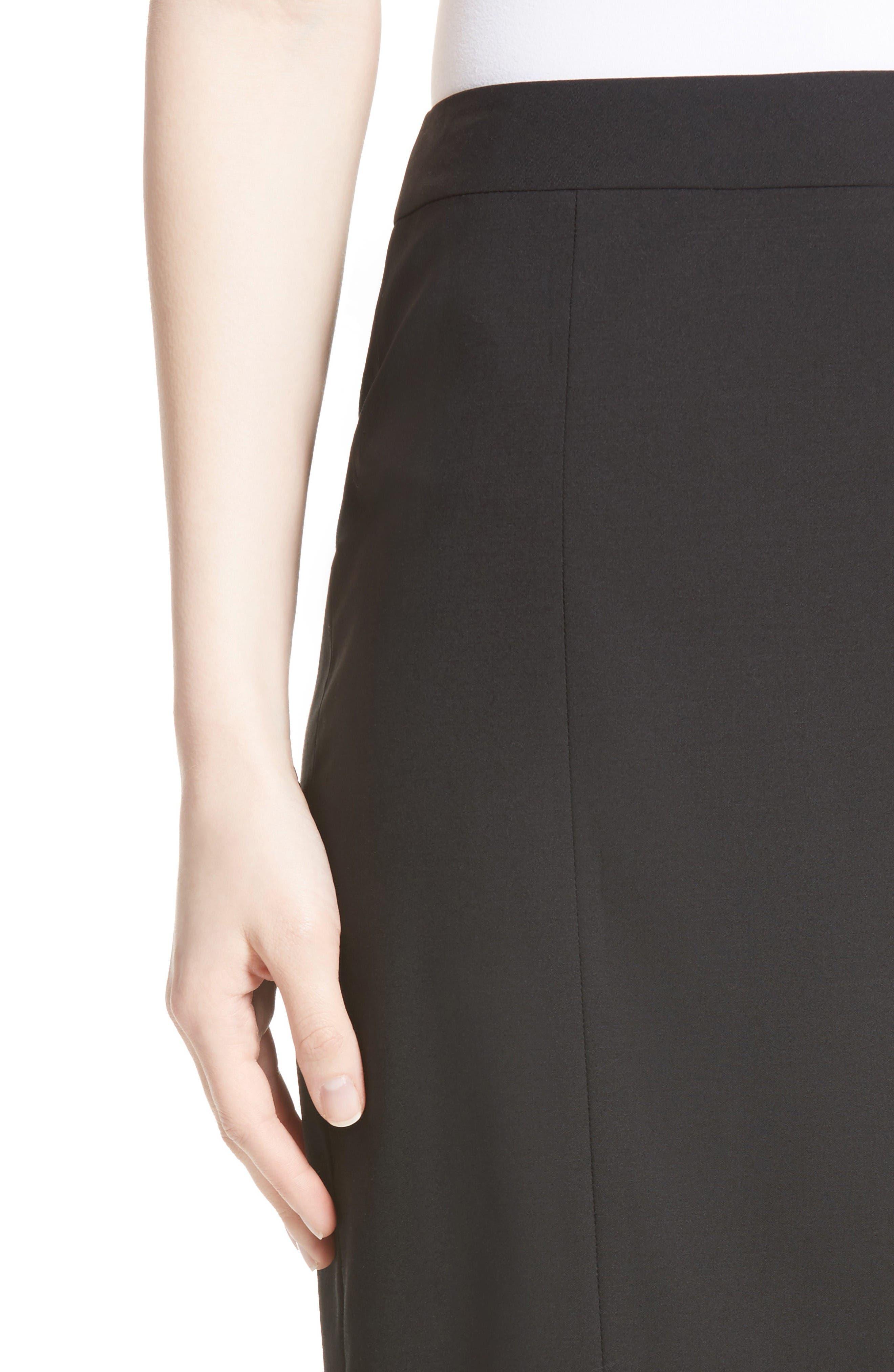 Stretch Wool Pencil Skirt,                             Alternate thumbnail 6, color,                             Black