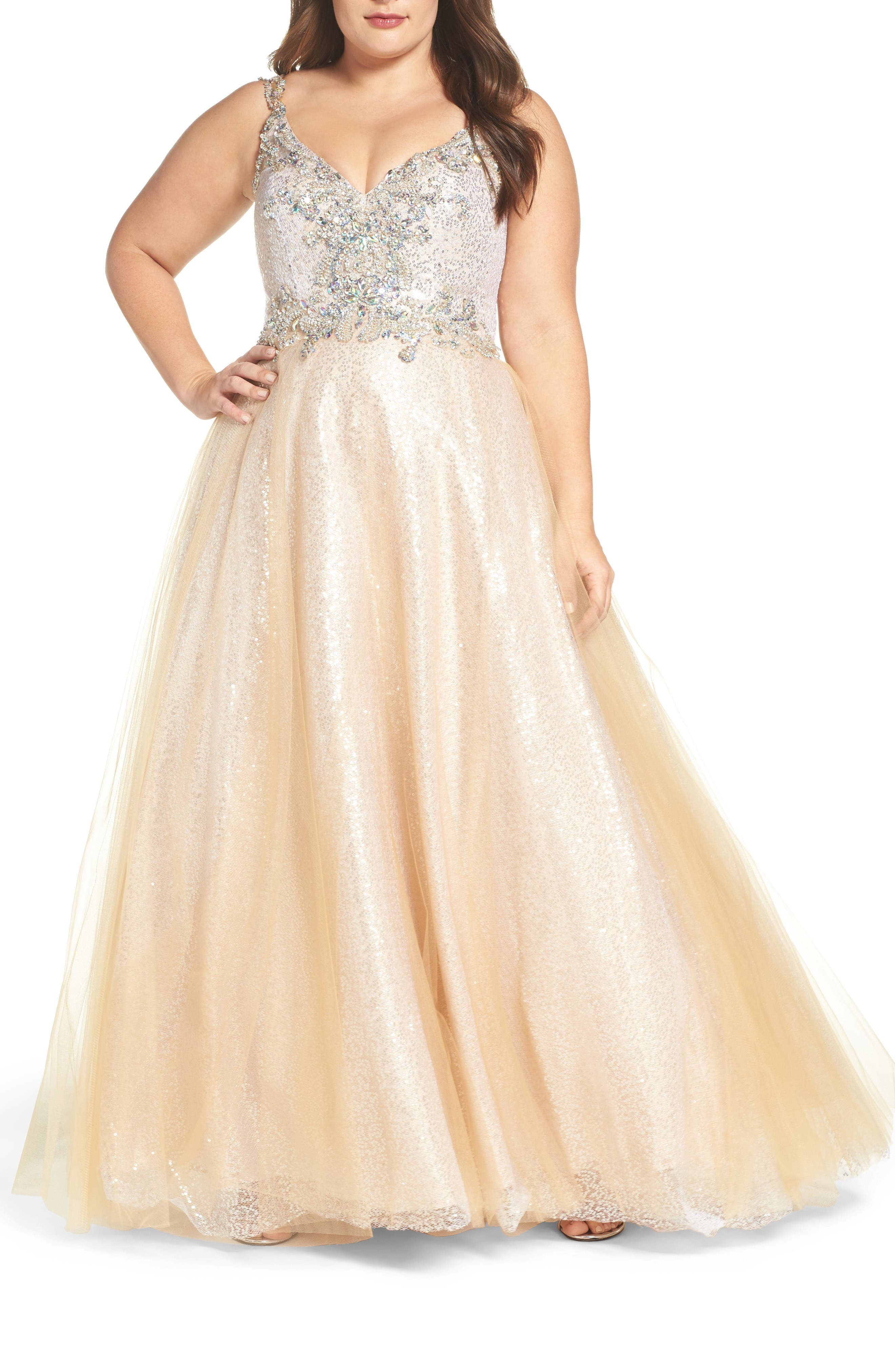 Beaded Tulle Ballgown,                         Main,                         color, Nude/ Silver