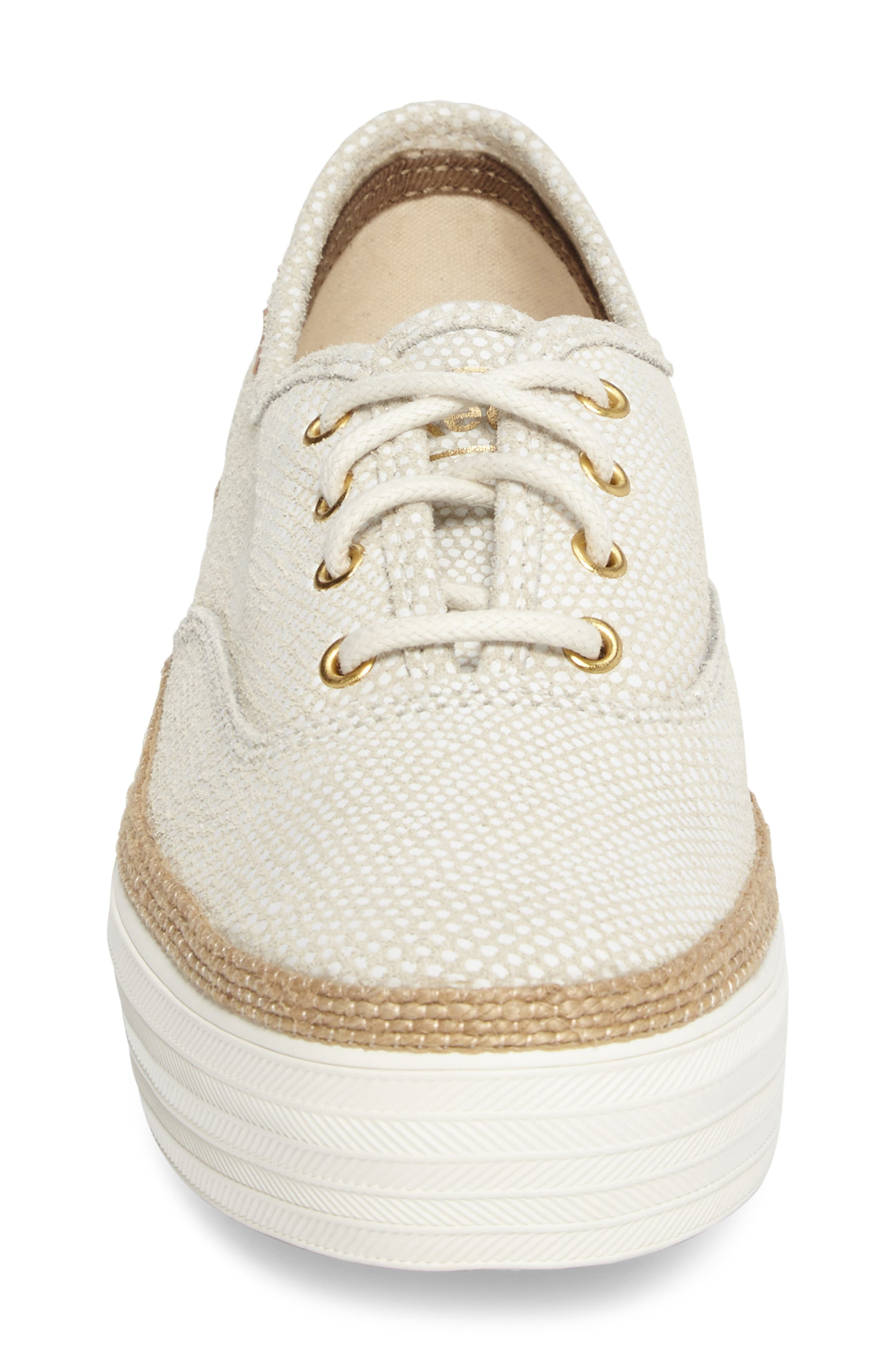 Triple Deck Platform Sneaker,                             Alternate thumbnail 4, color,                             Cream