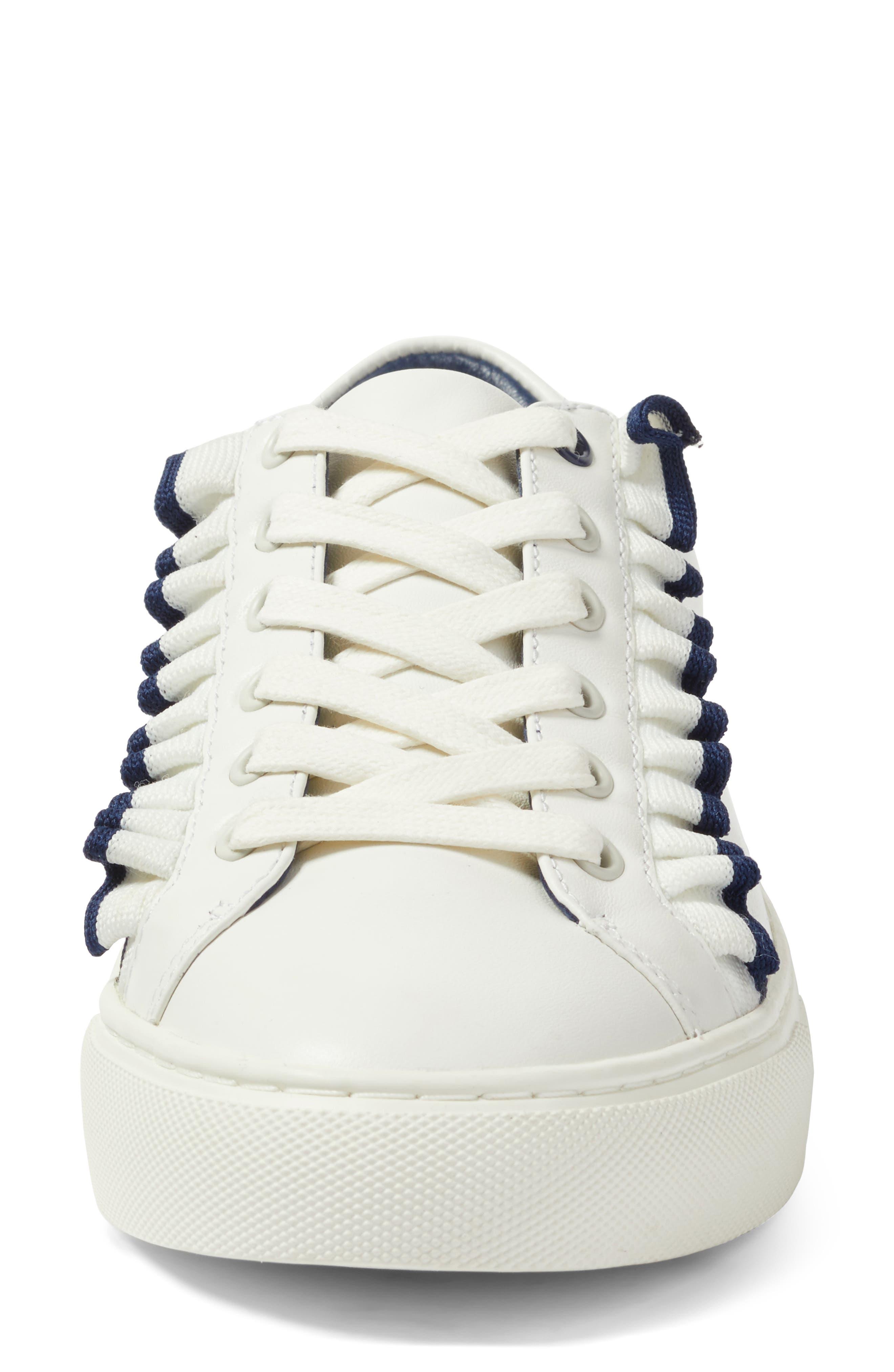 Ruffle Sneaker,                             Alternate thumbnail 4, color,                             Snow White/ Navy Sea