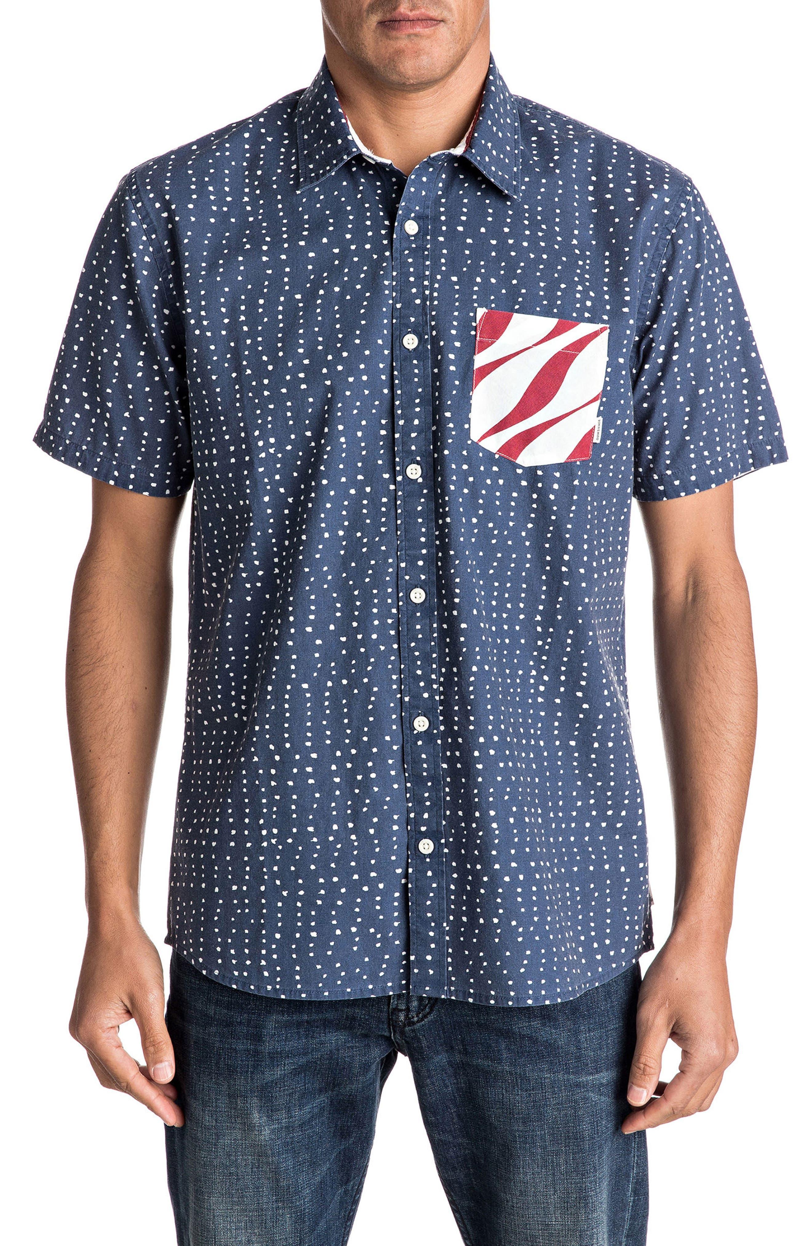 New Merica Print Shirt,                         Main,                         color, Dark Denim Spaced