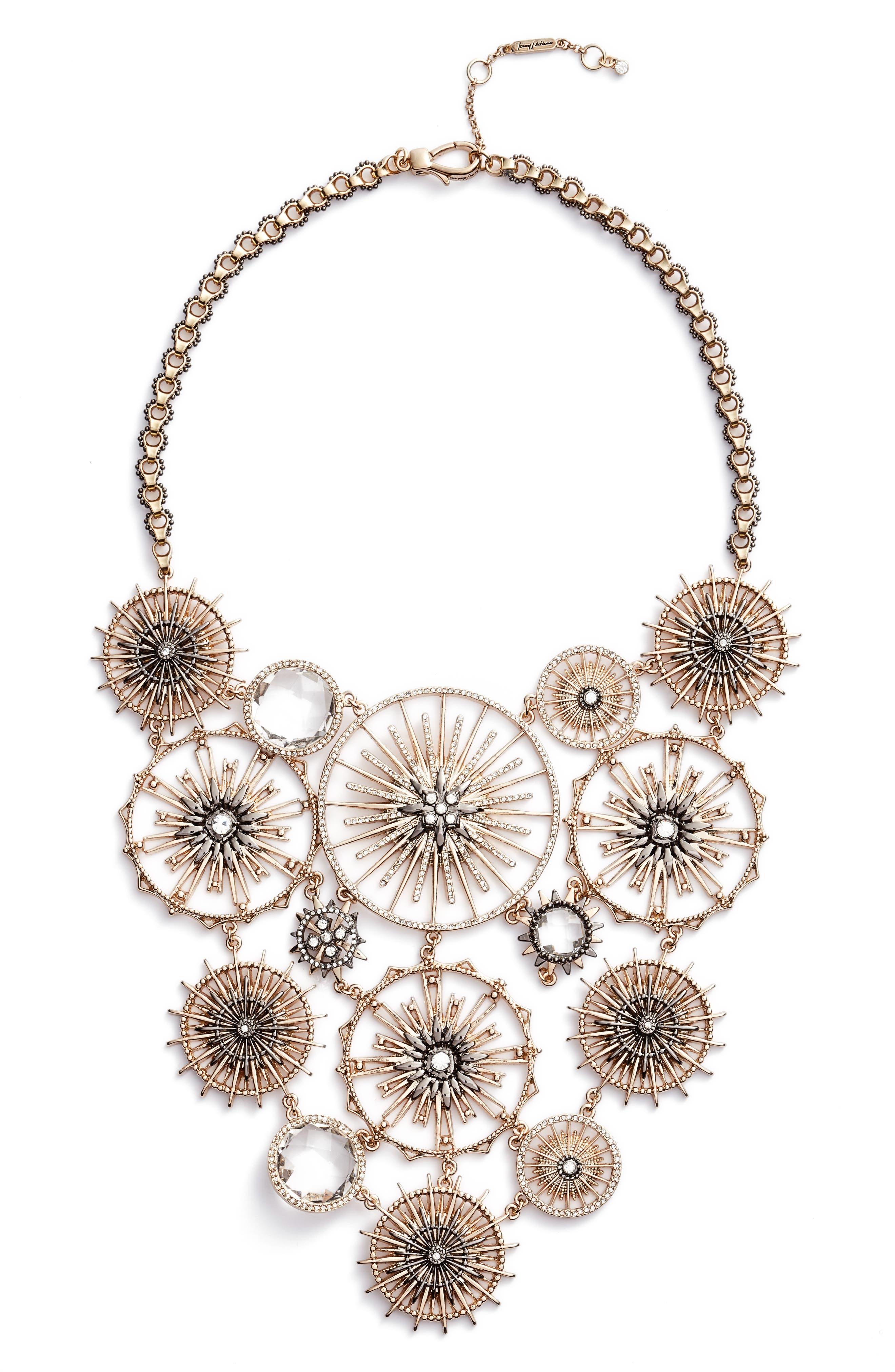 Drama Bib Necklace,                         Main,                         color, Gold