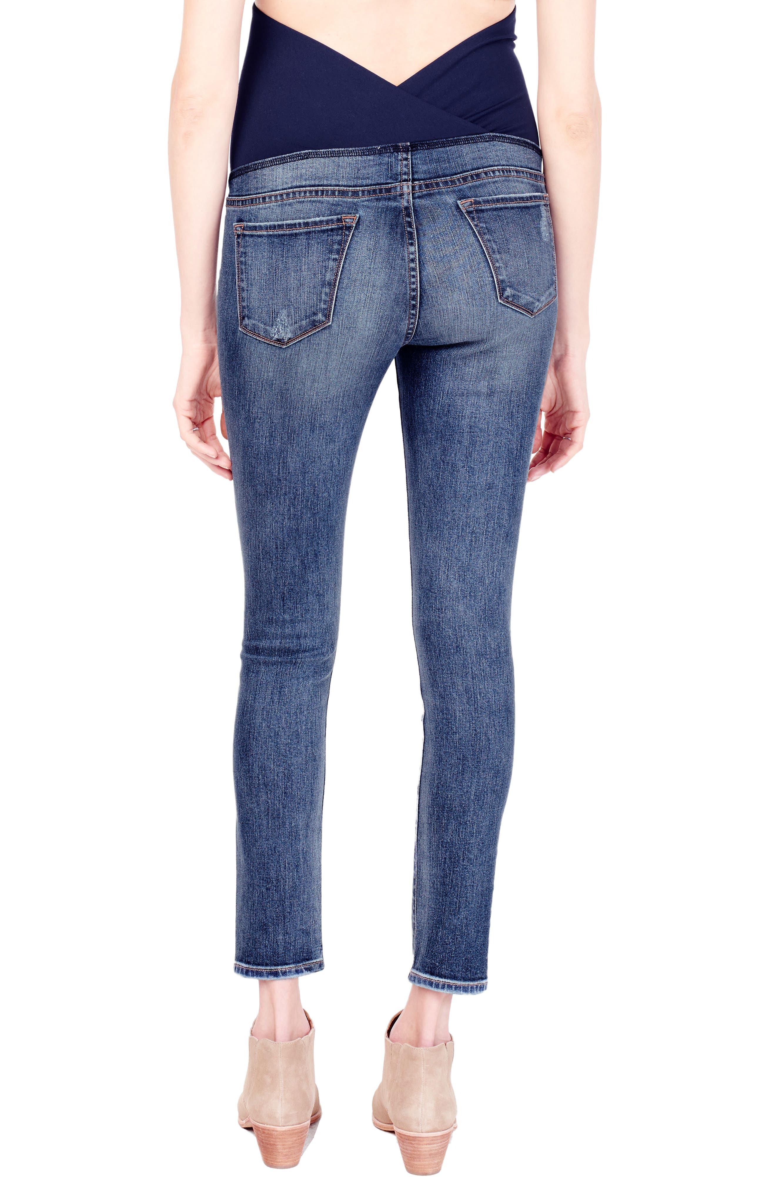 Alternate Image 2  - Ingrid & Isabel® Sasha Maternity Skinny Jeans with Crossover Panel™