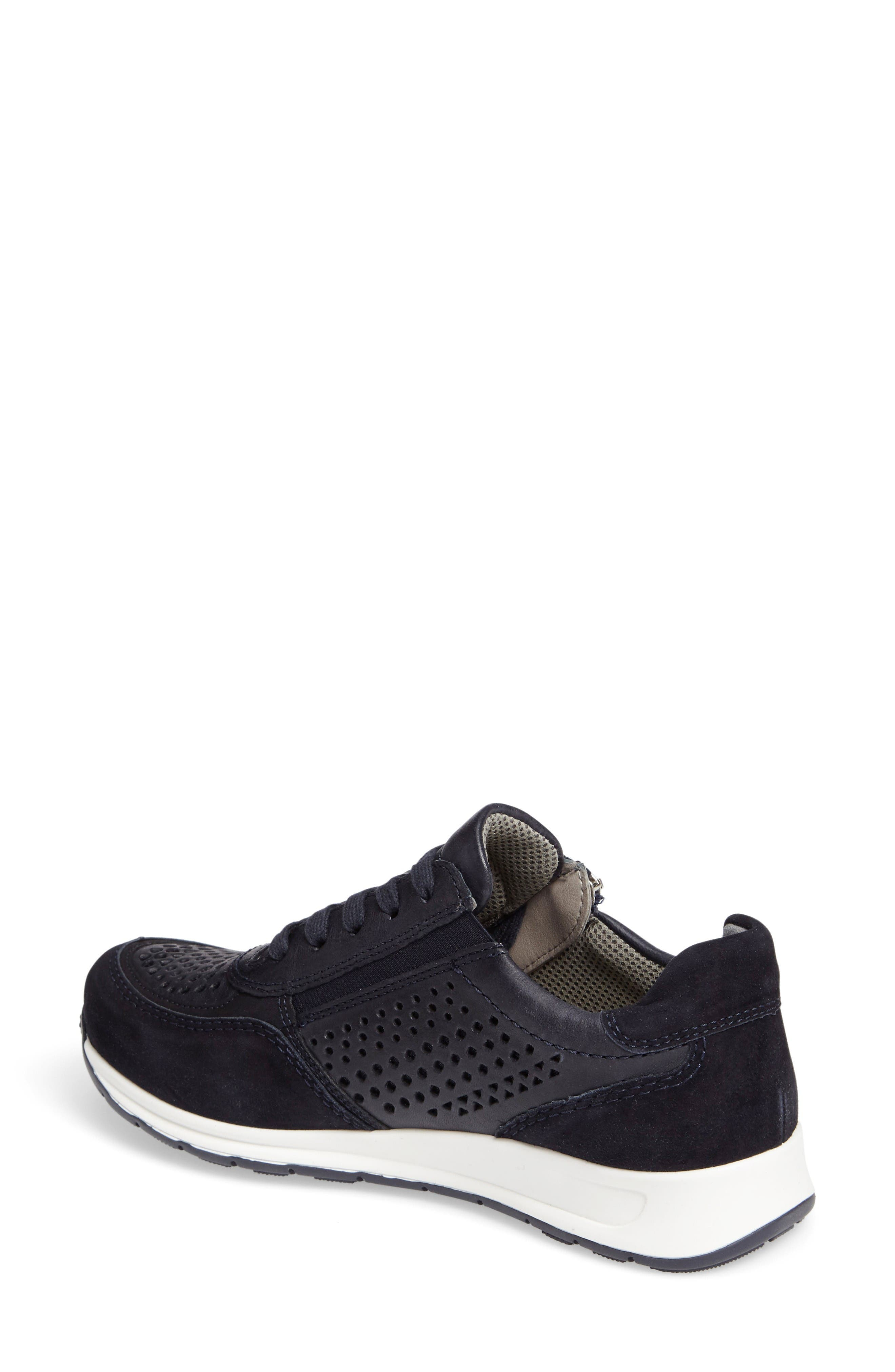 Olivia Perforated Sneaker,                             Alternate thumbnail 2, color,                             Navy Suede