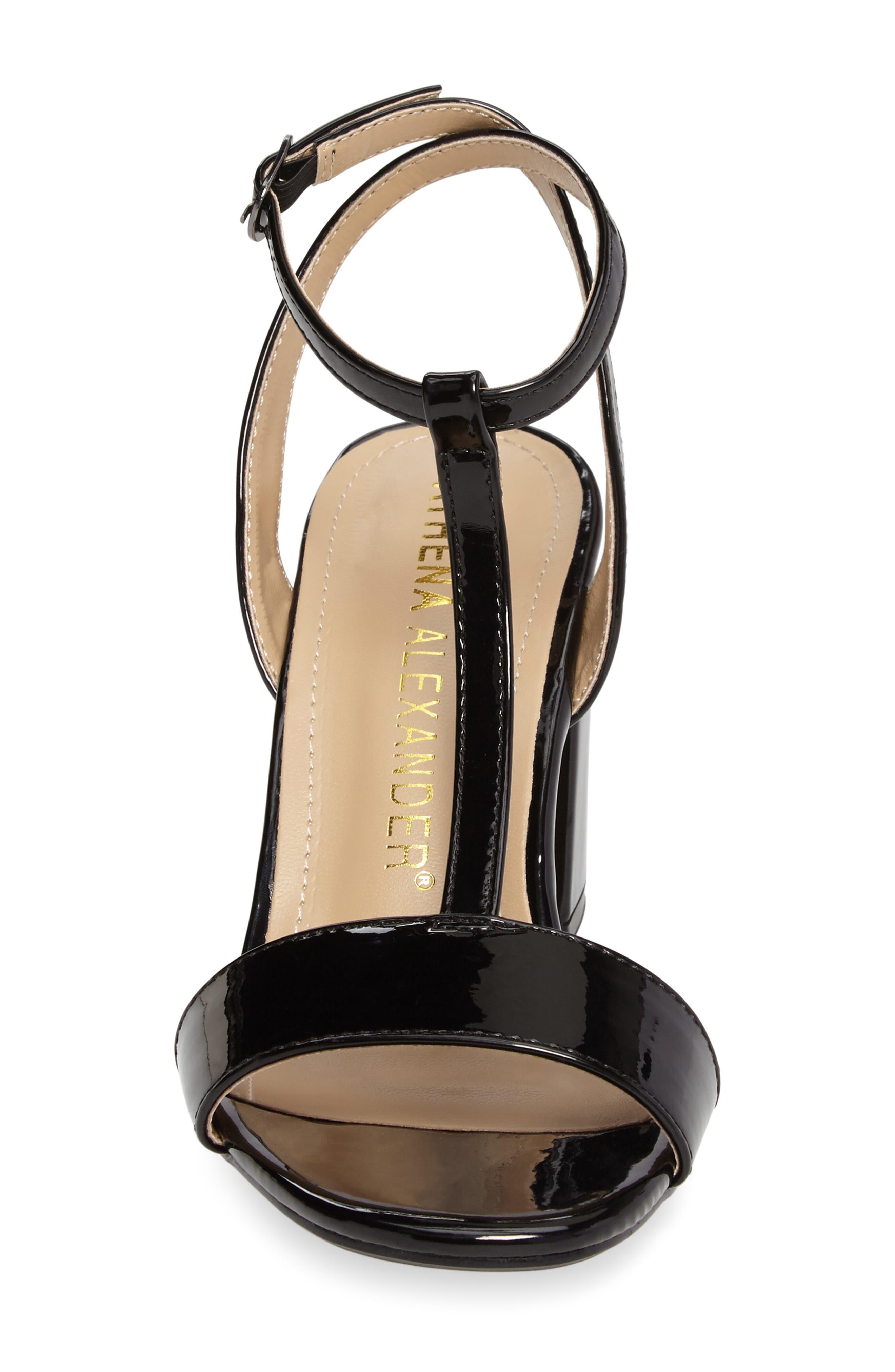Ditaa T-Strap Sandal,                             Alternate thumbnail 4, color,                             Black Faux Patent