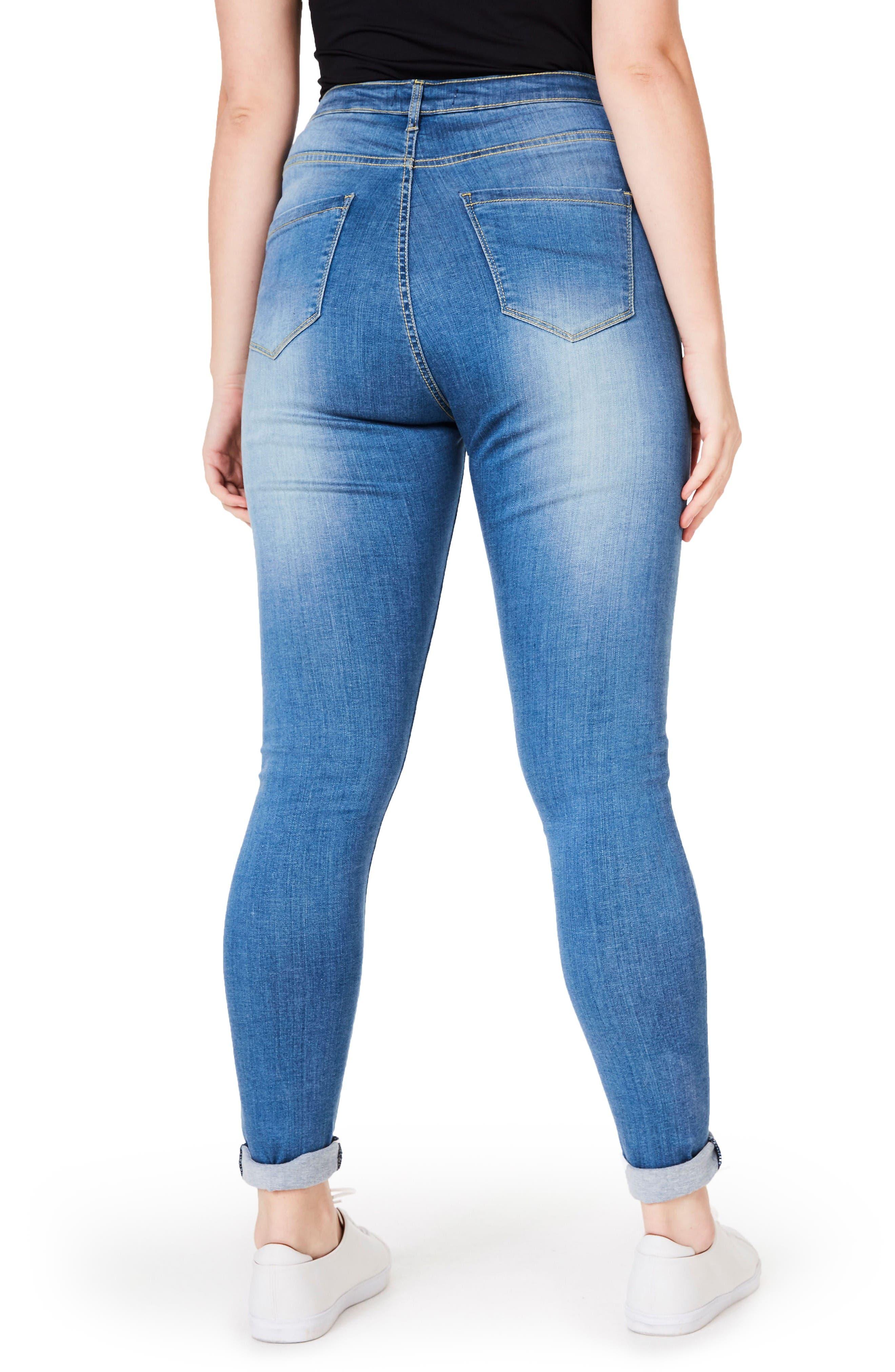 Alternate Image 2  - ELVI Embellished Stretch Skinny Jeans (Plus Size)