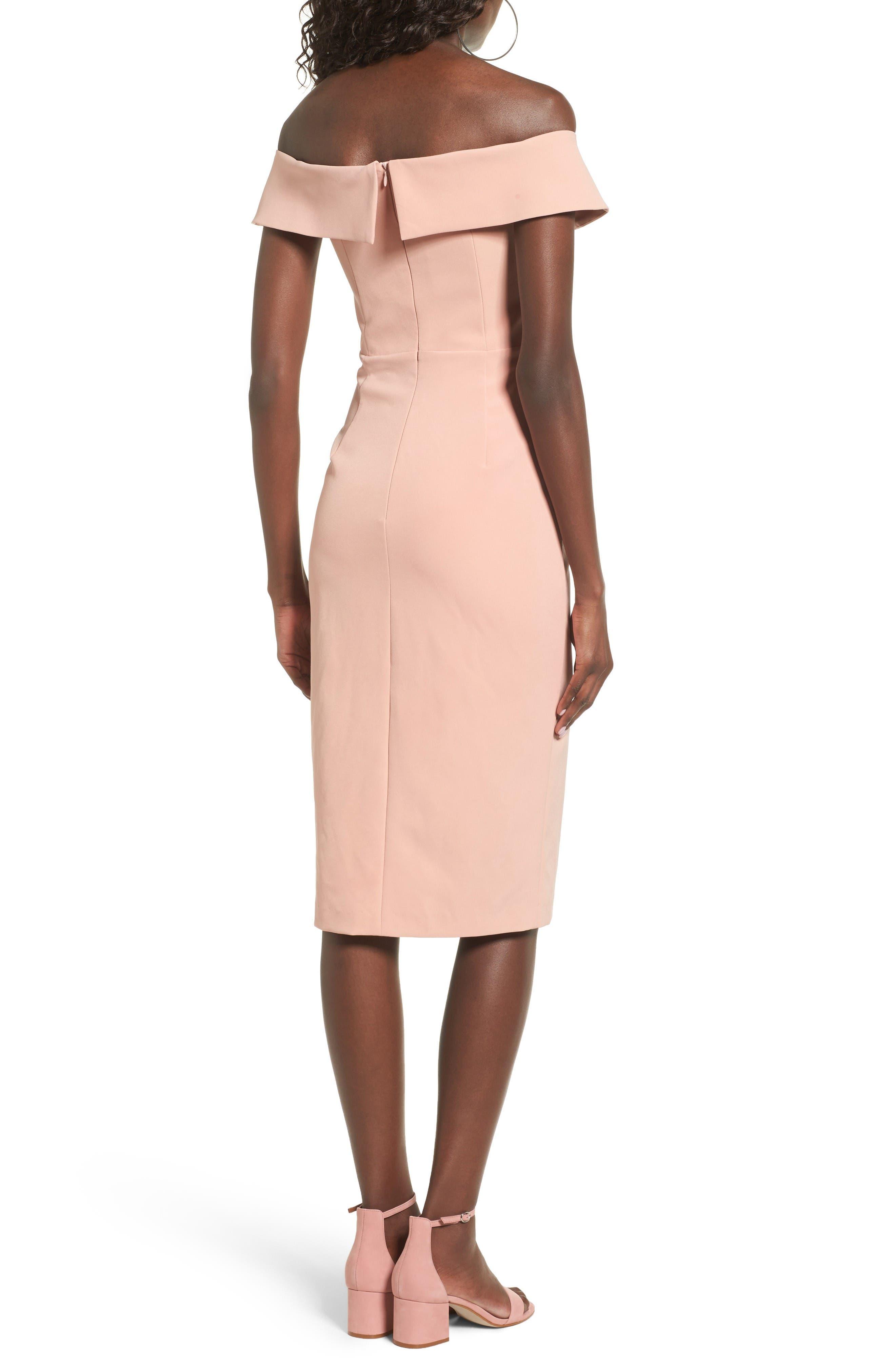 Bella Midi Dress,                             Alternate thumbnail 2, color,                             Peach