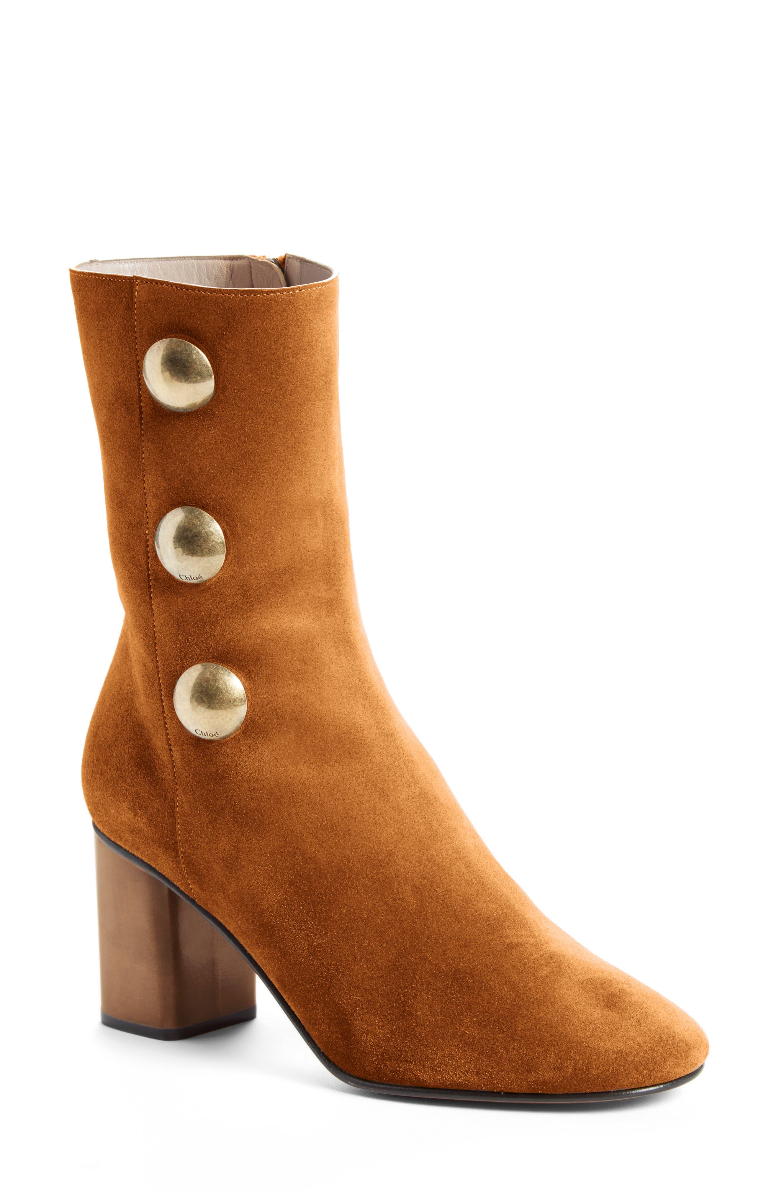 Orlando Short Button Boot,                         Main,                         color, Natural Brown