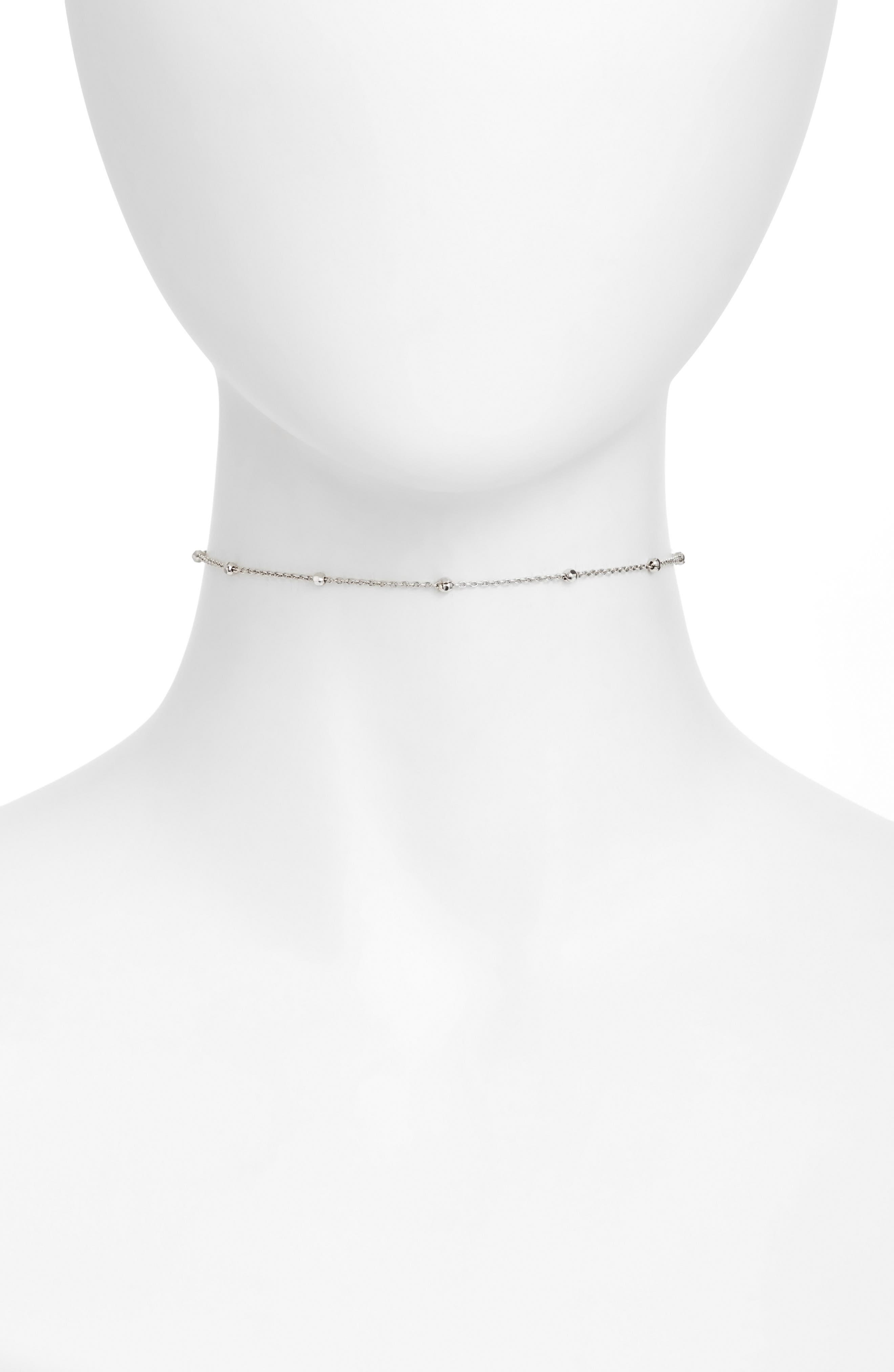 Choker Necklace,                         Main,                         color, Silver