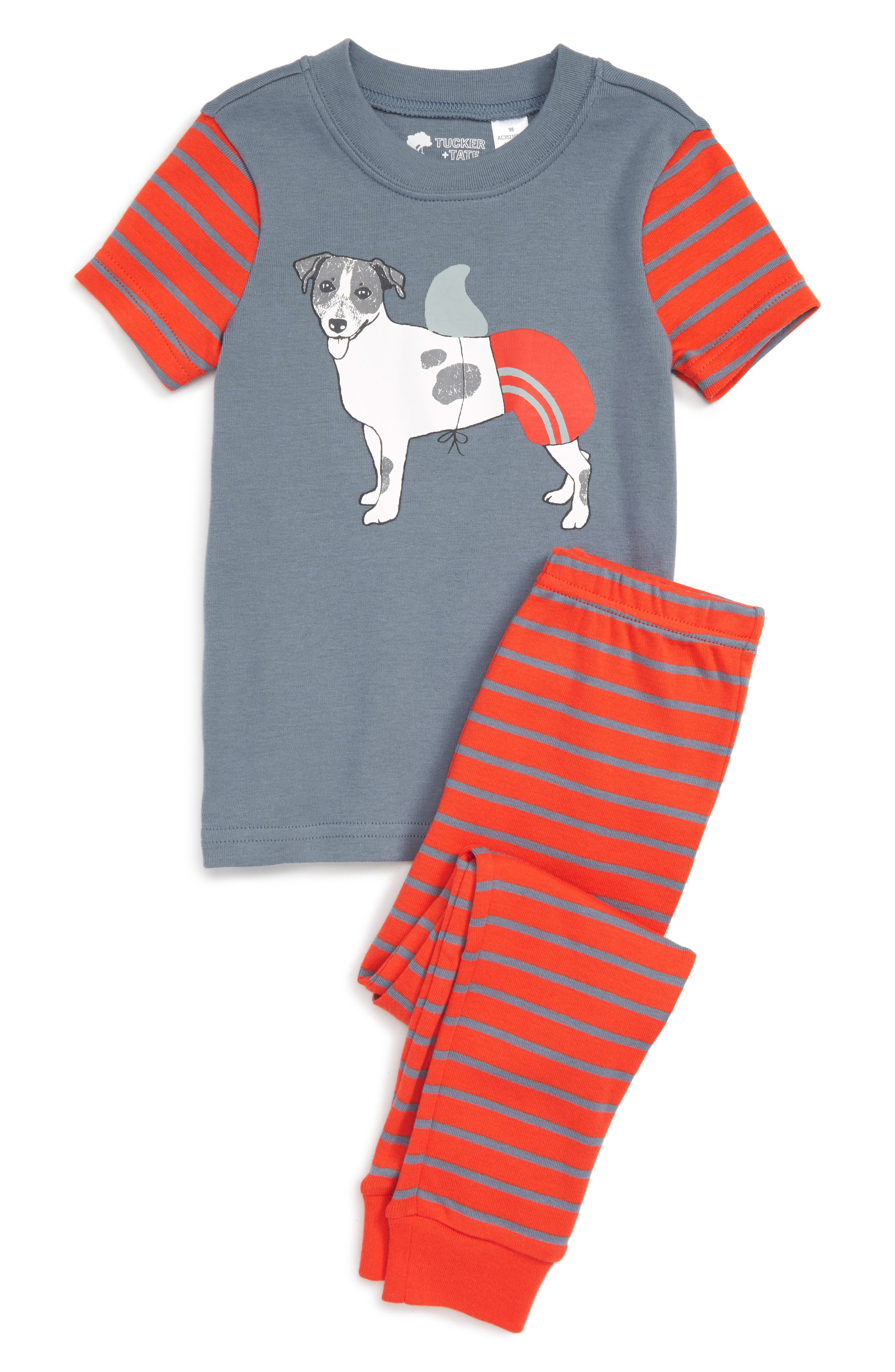 Fitted Two-Piece Pajamas,                         Main,                         color, Red Grenadine Fancy Dog