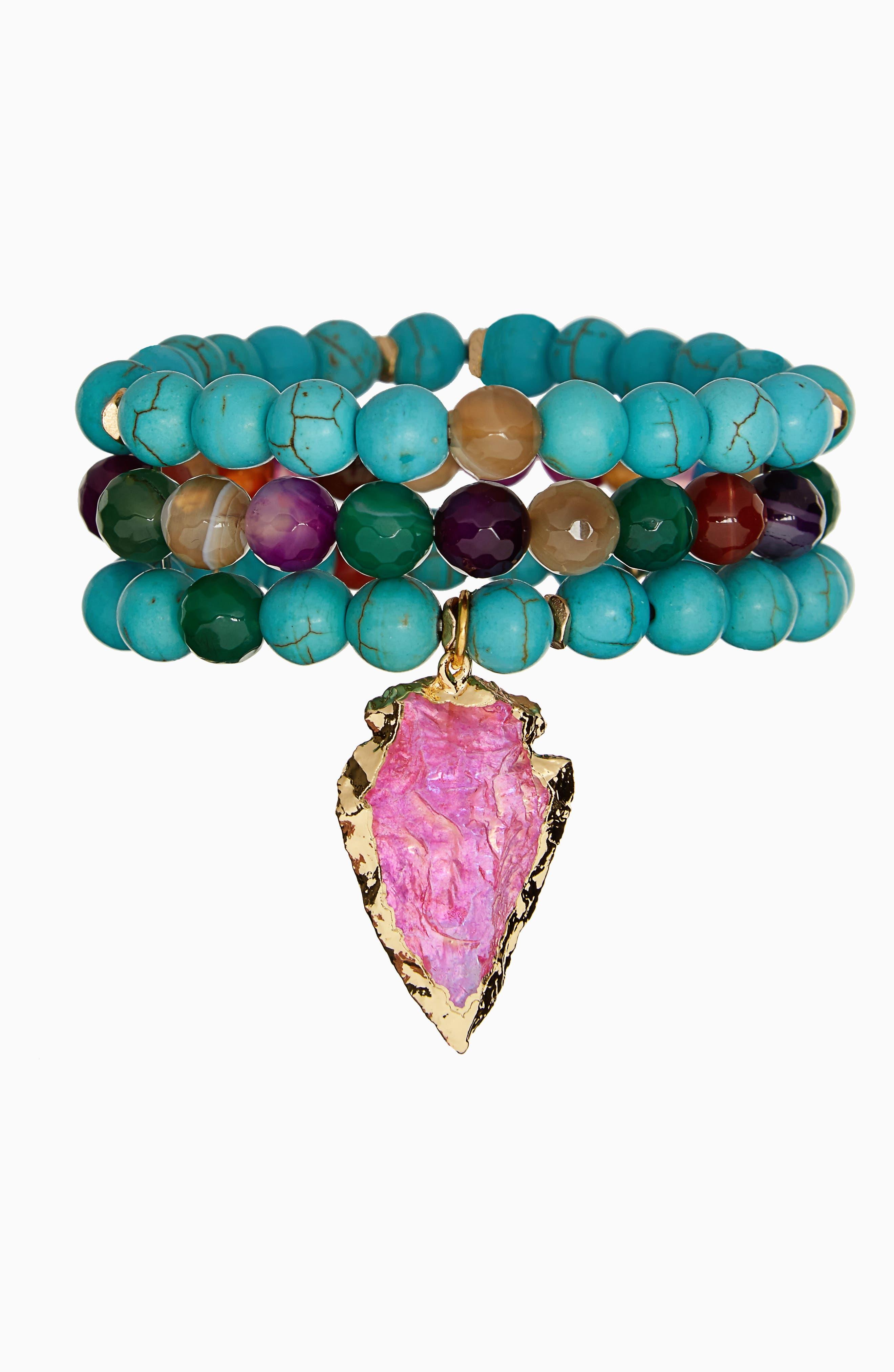 Alternate Image 1 Selected - Panacea Beaded Stone Stacked Stretch Bracelet