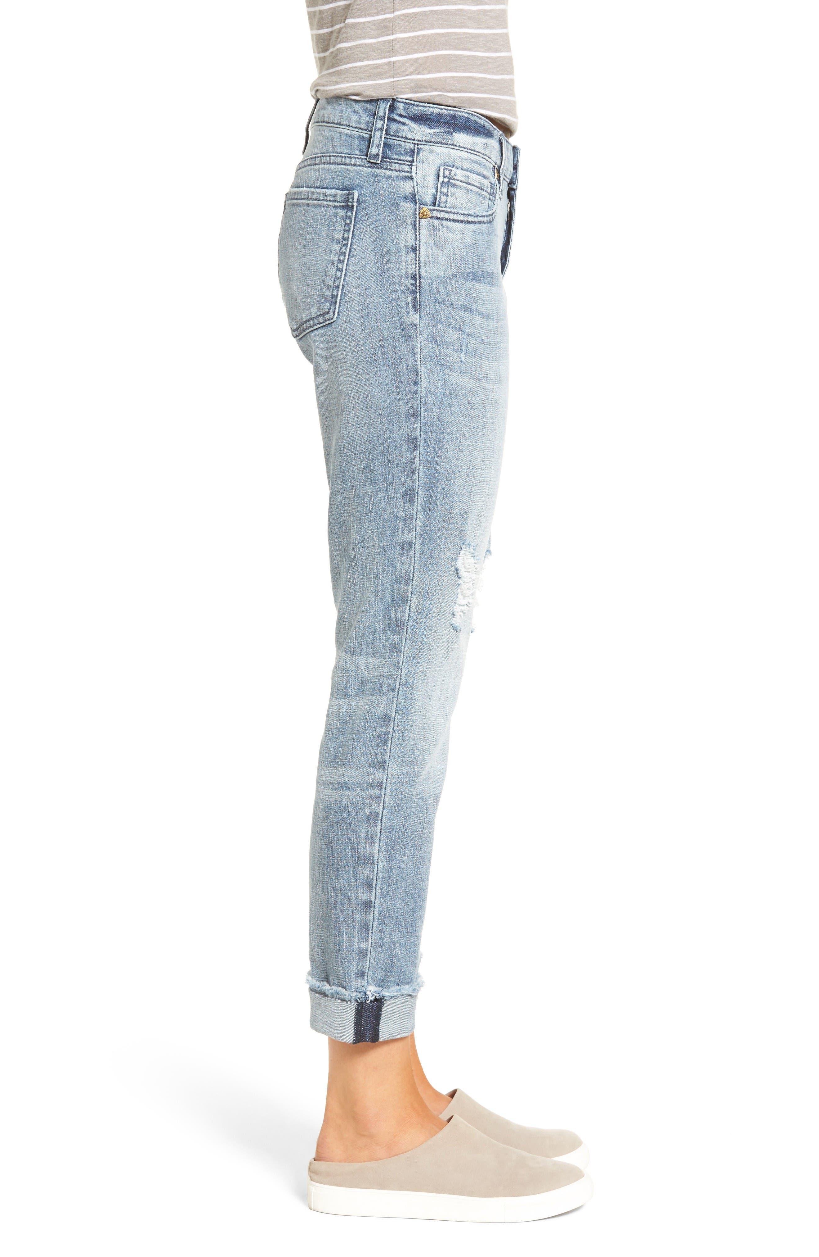 Alternate Image 3  - KUT from the Kloth Catherine Distressed Frayed Hem Boyfriend Jeans (Heartiness)