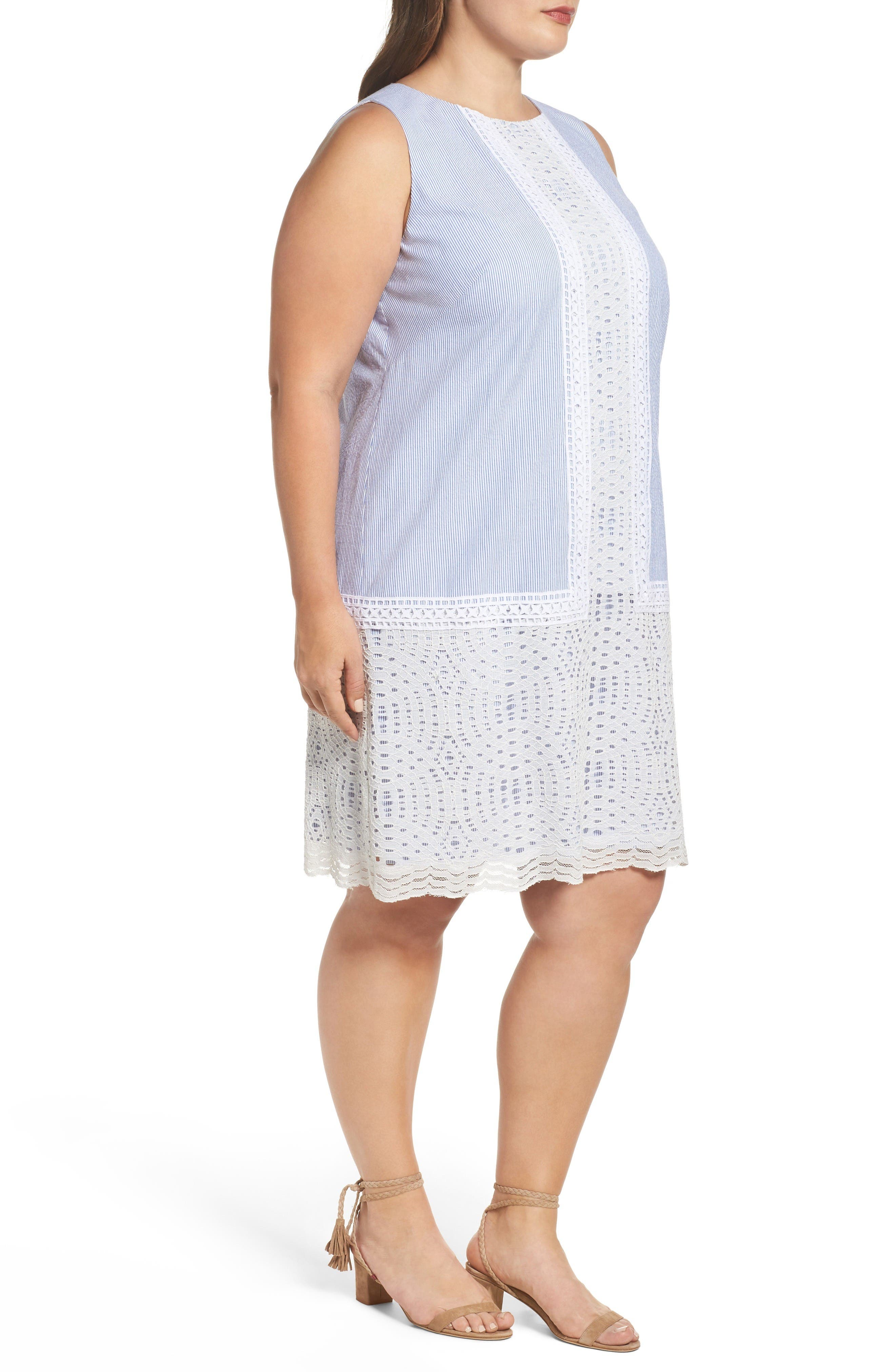 Lace Overlay Shift Dress,                             Alternate thumbnail 4, color,                             Blue White