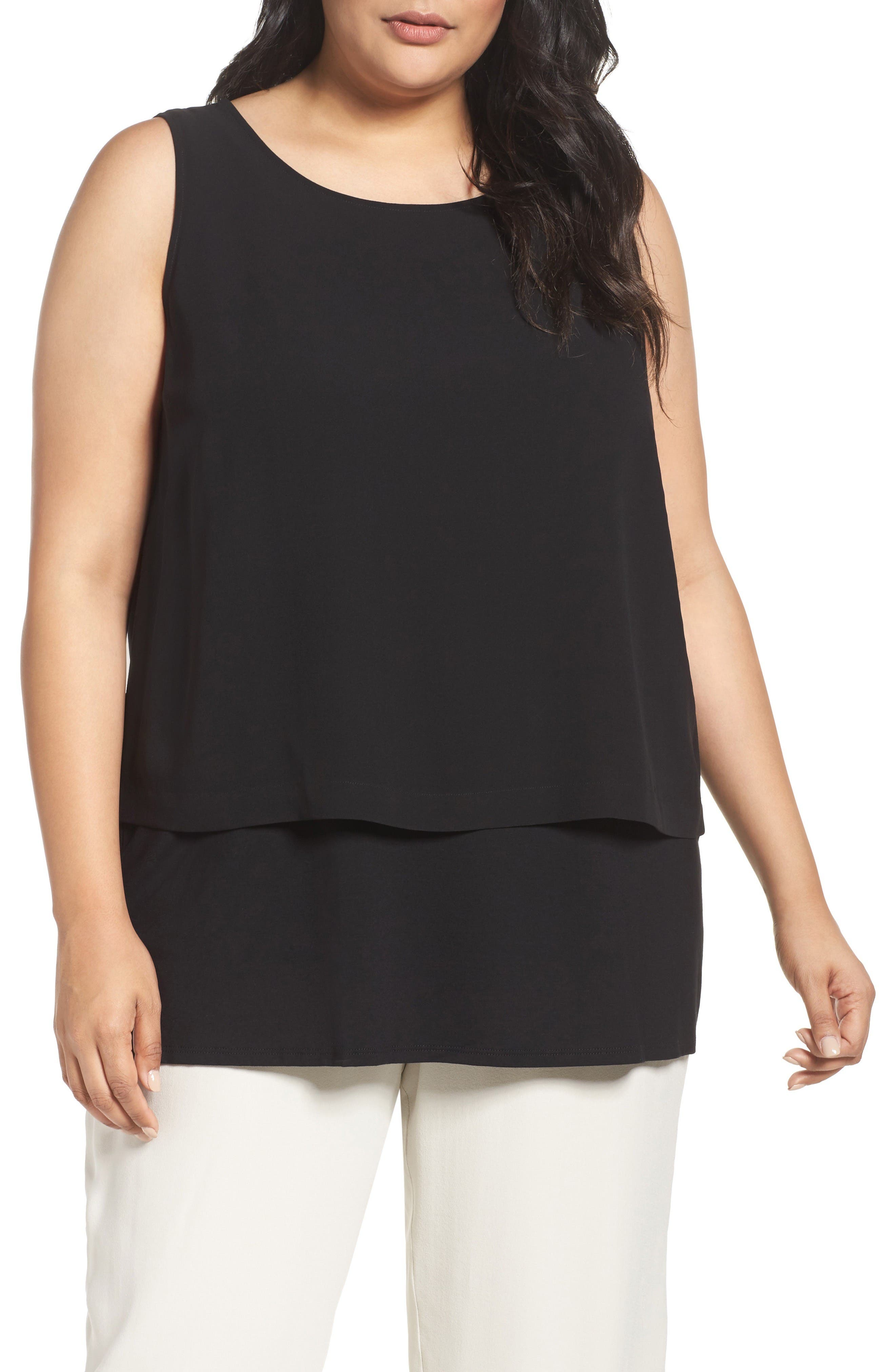 Main Image - Eileen Fisher Silk Georgette Crepe Shell (Plus Size)