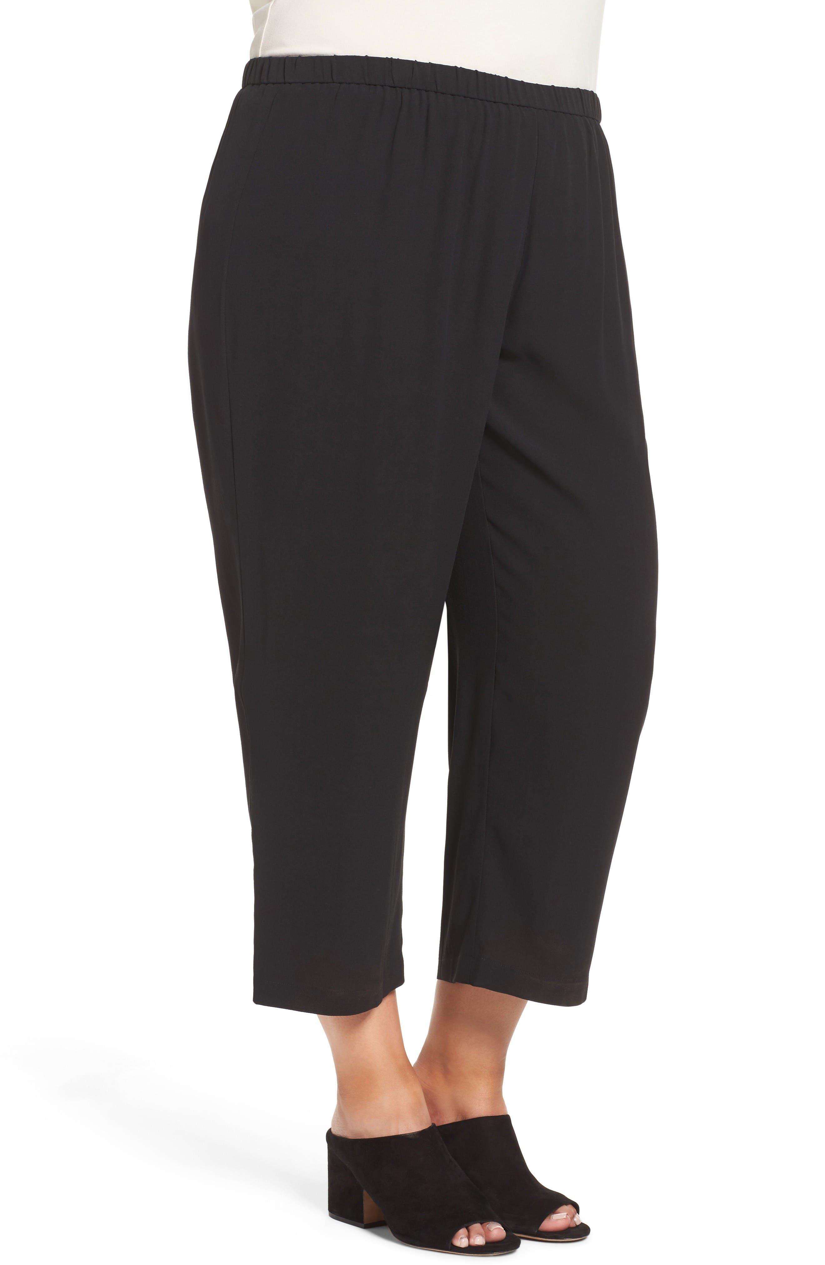 Silk Georgette Crop Pants,                             Alternate thumbnail 3, color,                             Black