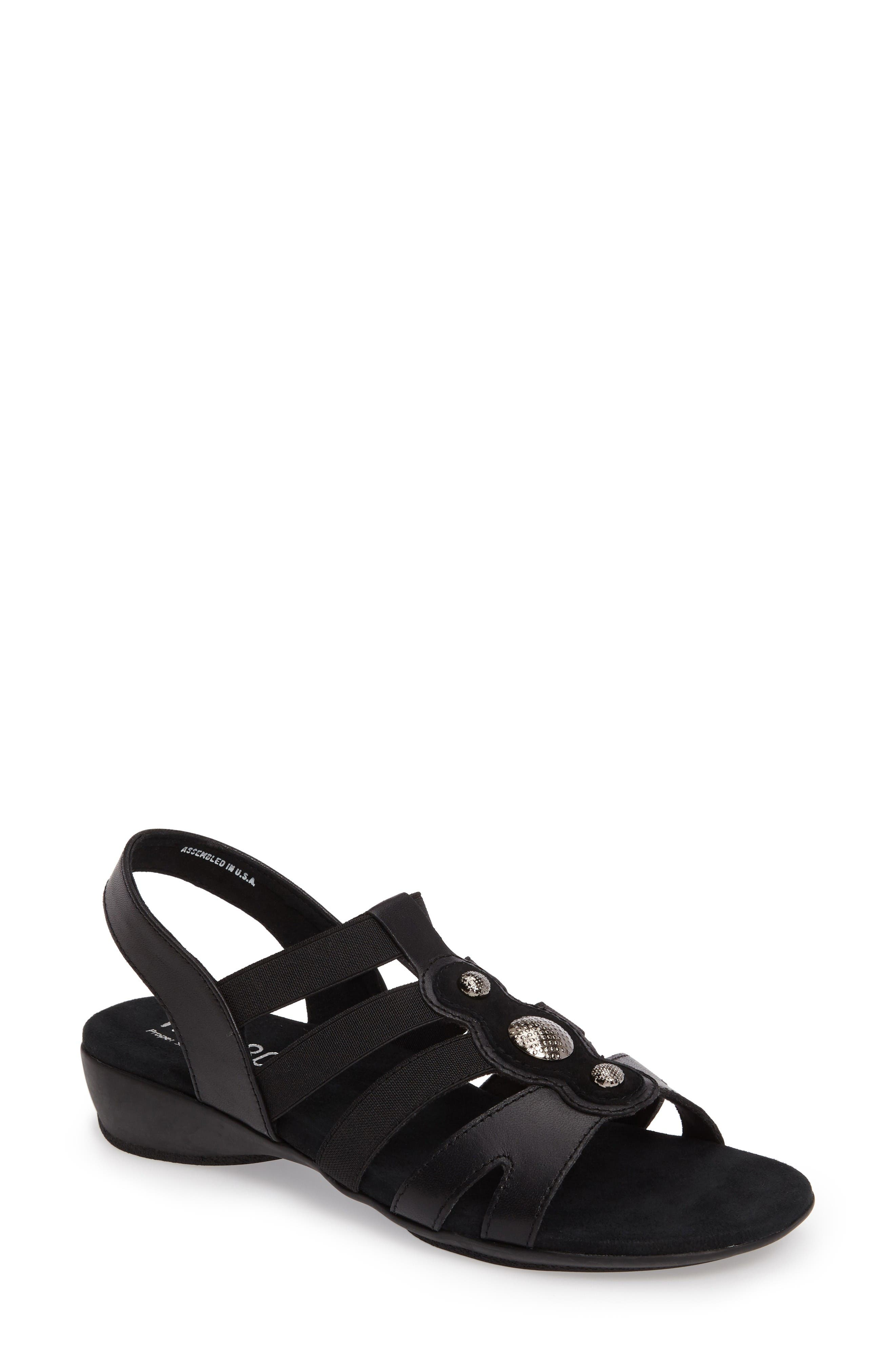 Destiny Sandal,                             Main thumbnail 1, color,                             Black Leather