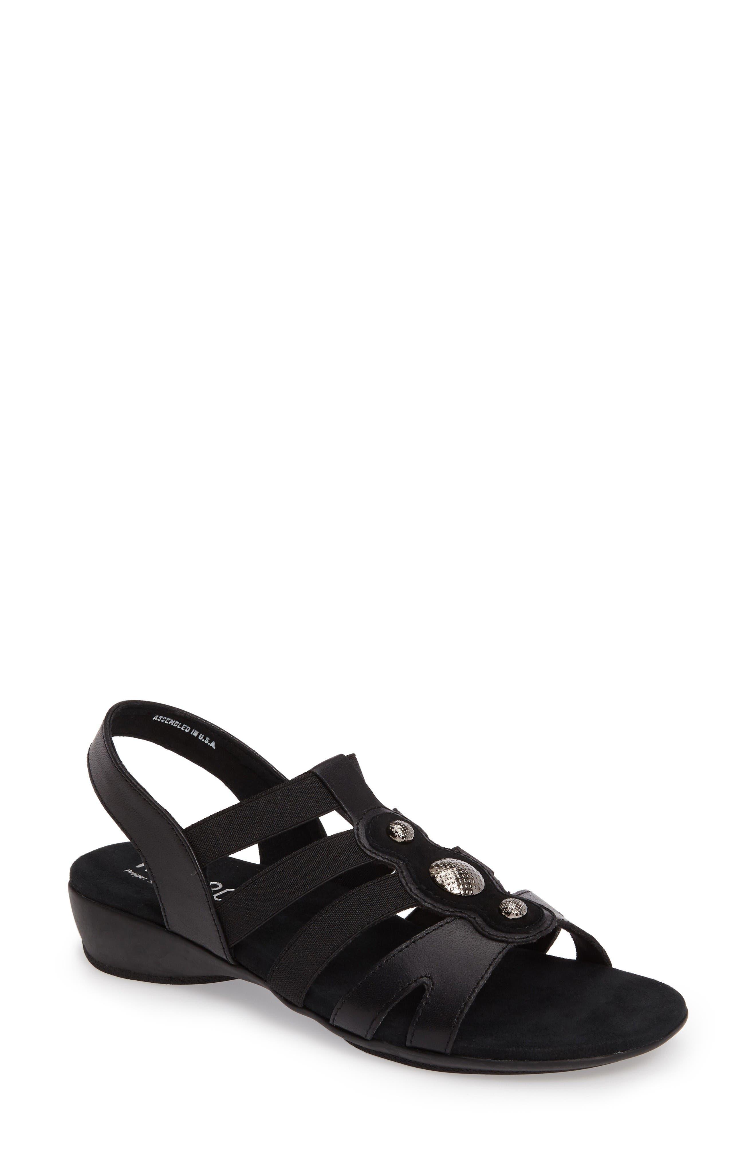Destiny Sandal,                         Main,                         color, Black Leather