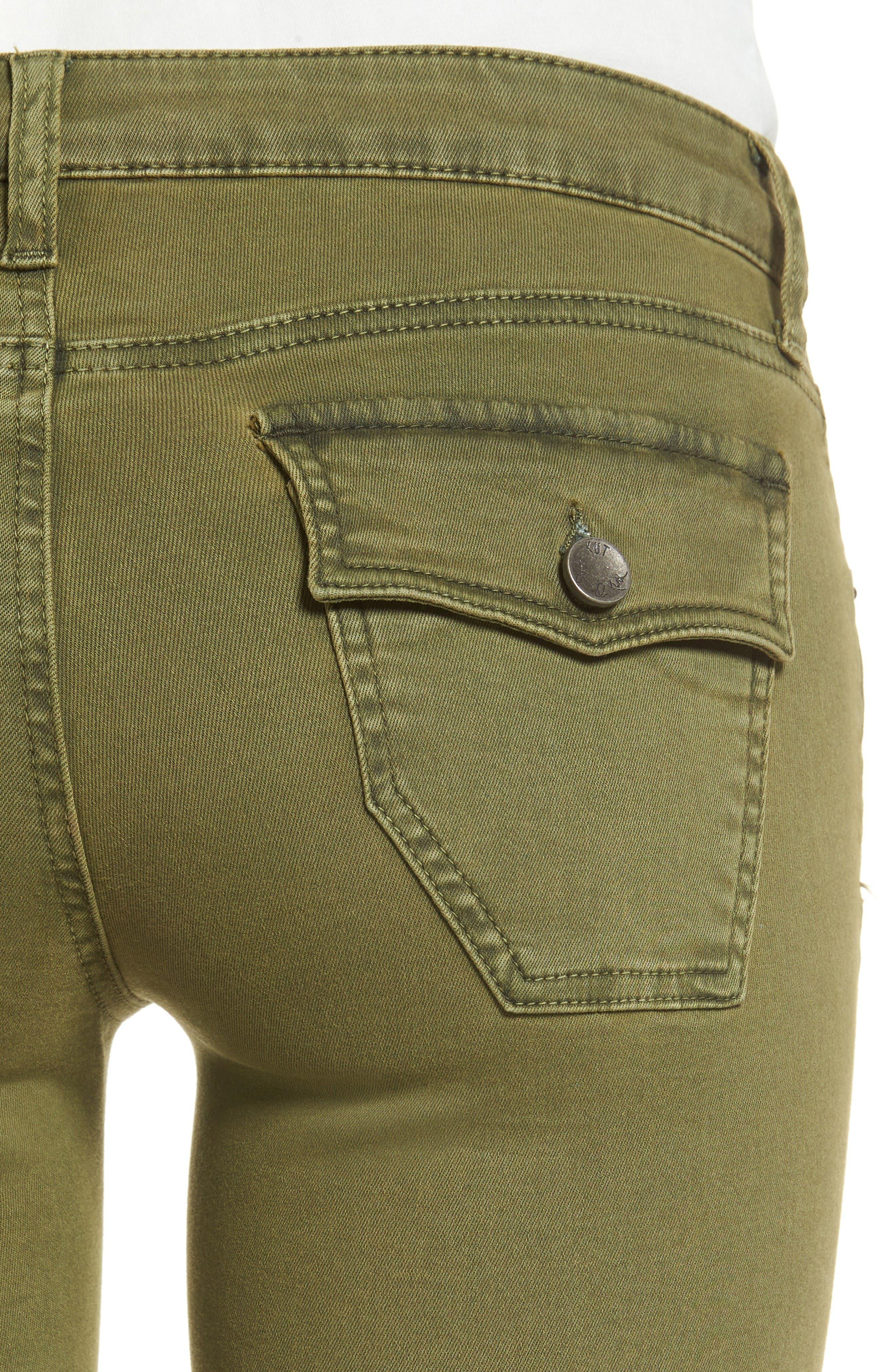 Natalie Frayed Hem Denim Bermuda Shorts,                             Alternate thumbnail 4, color,                             Olive