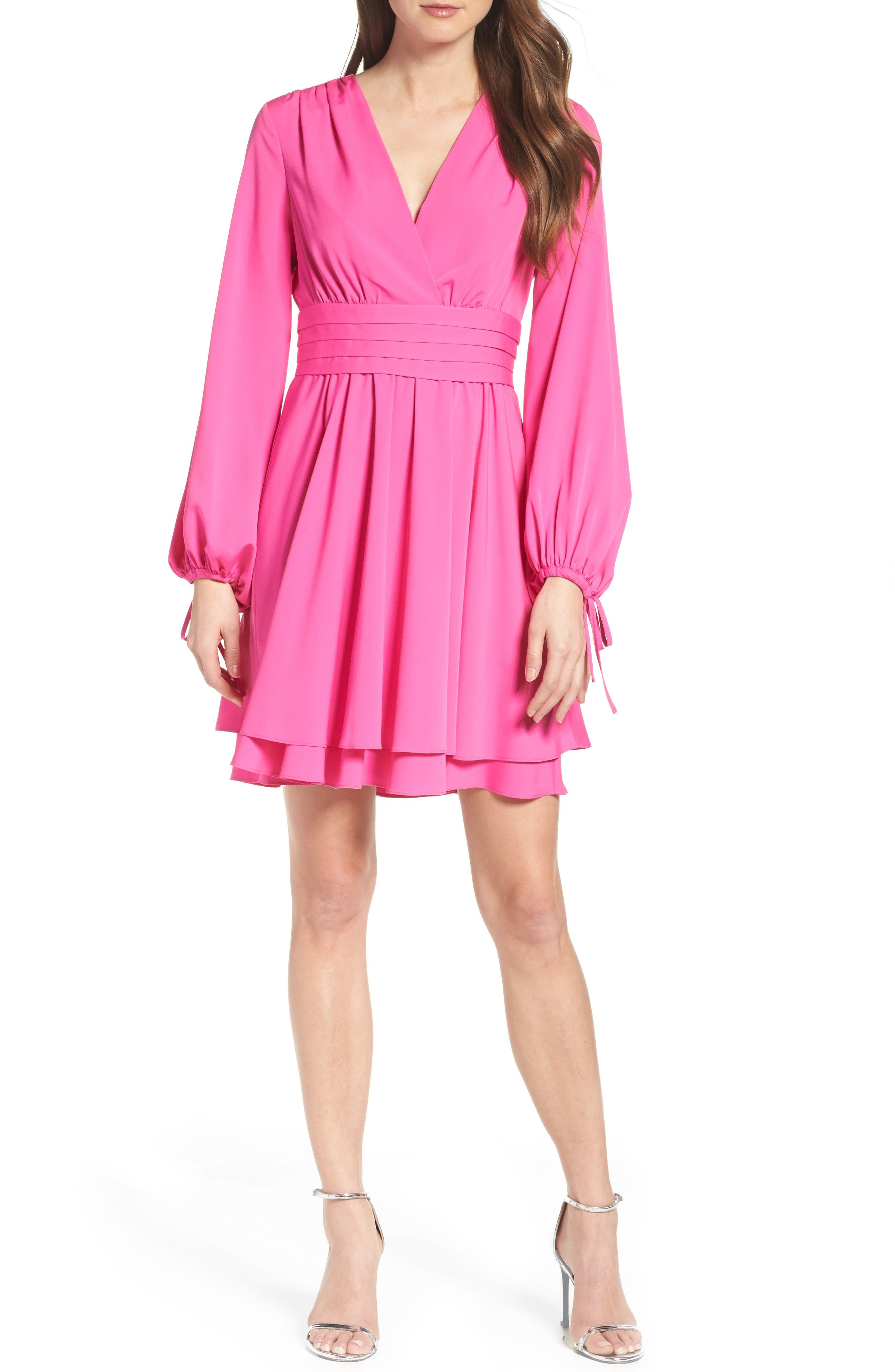 Tie Sleeve Fit & Flare Dress,                             Alternate thumbnail 4, color,                             Fuchsia