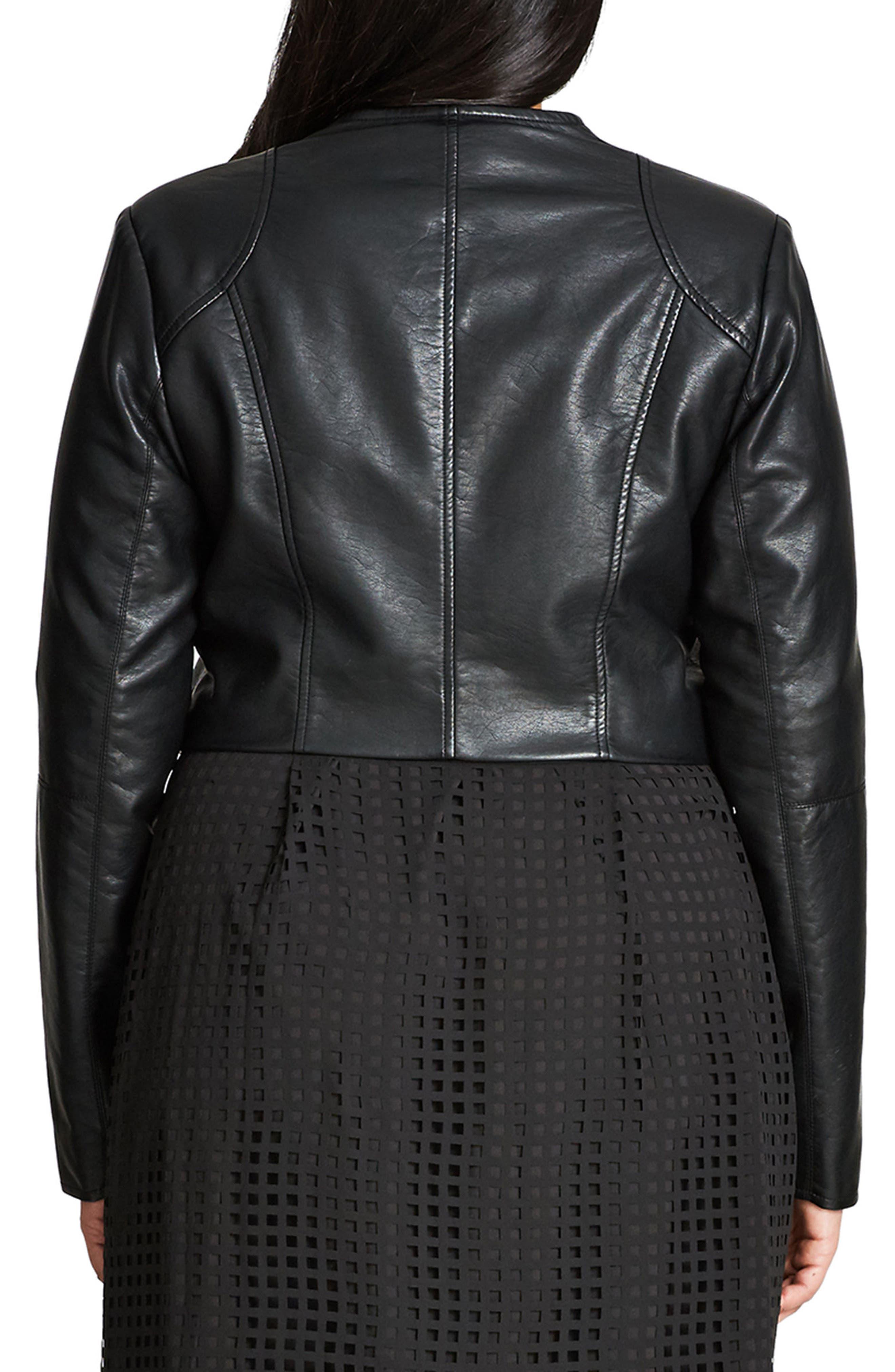 Sleek Faux Leather Bolero,                             Alternate thumbnail 2, color,                             Black