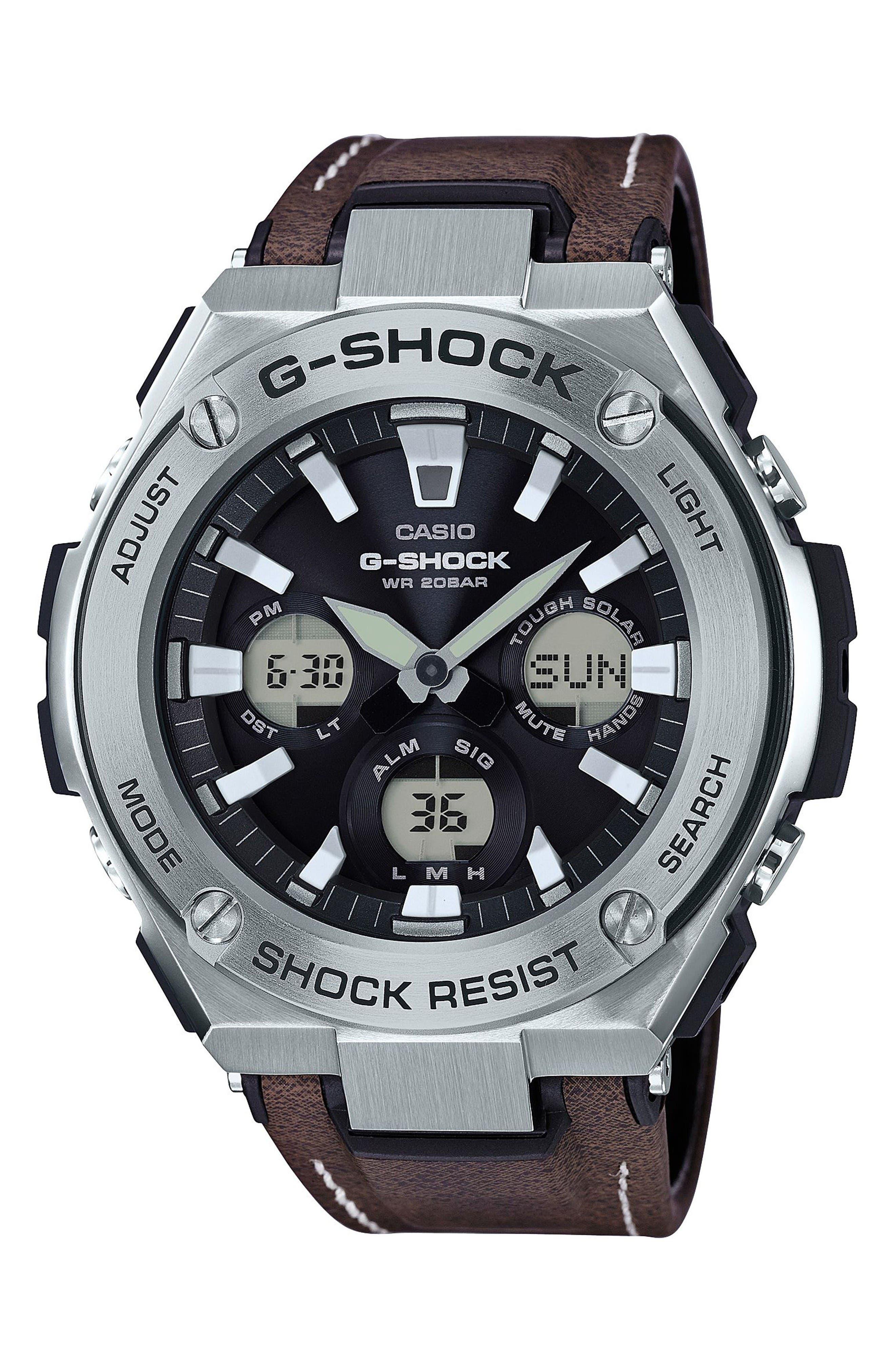 G-SHOCK BABY-G G-Shock G-Steel Solar Leather Strap Watch, 59mm