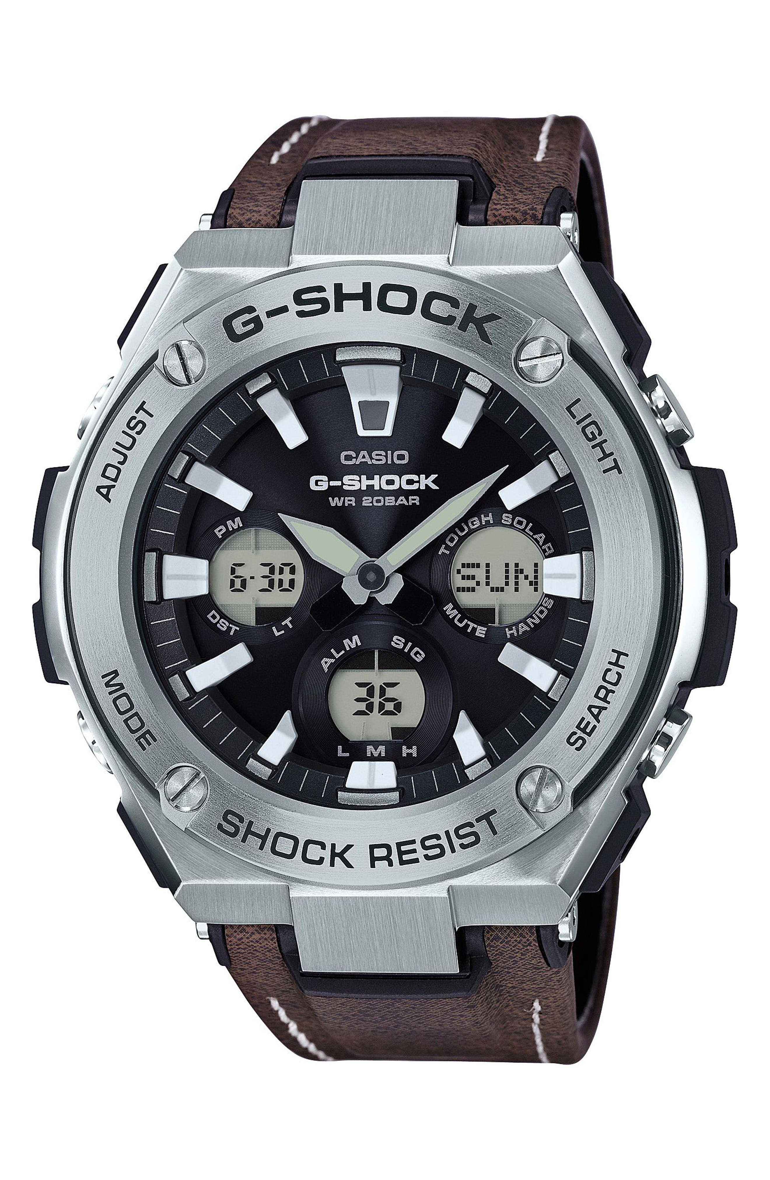 Alternate Image 1 Selected - G-Shock G-Steel Solar Leather Strap Watch, 59mm