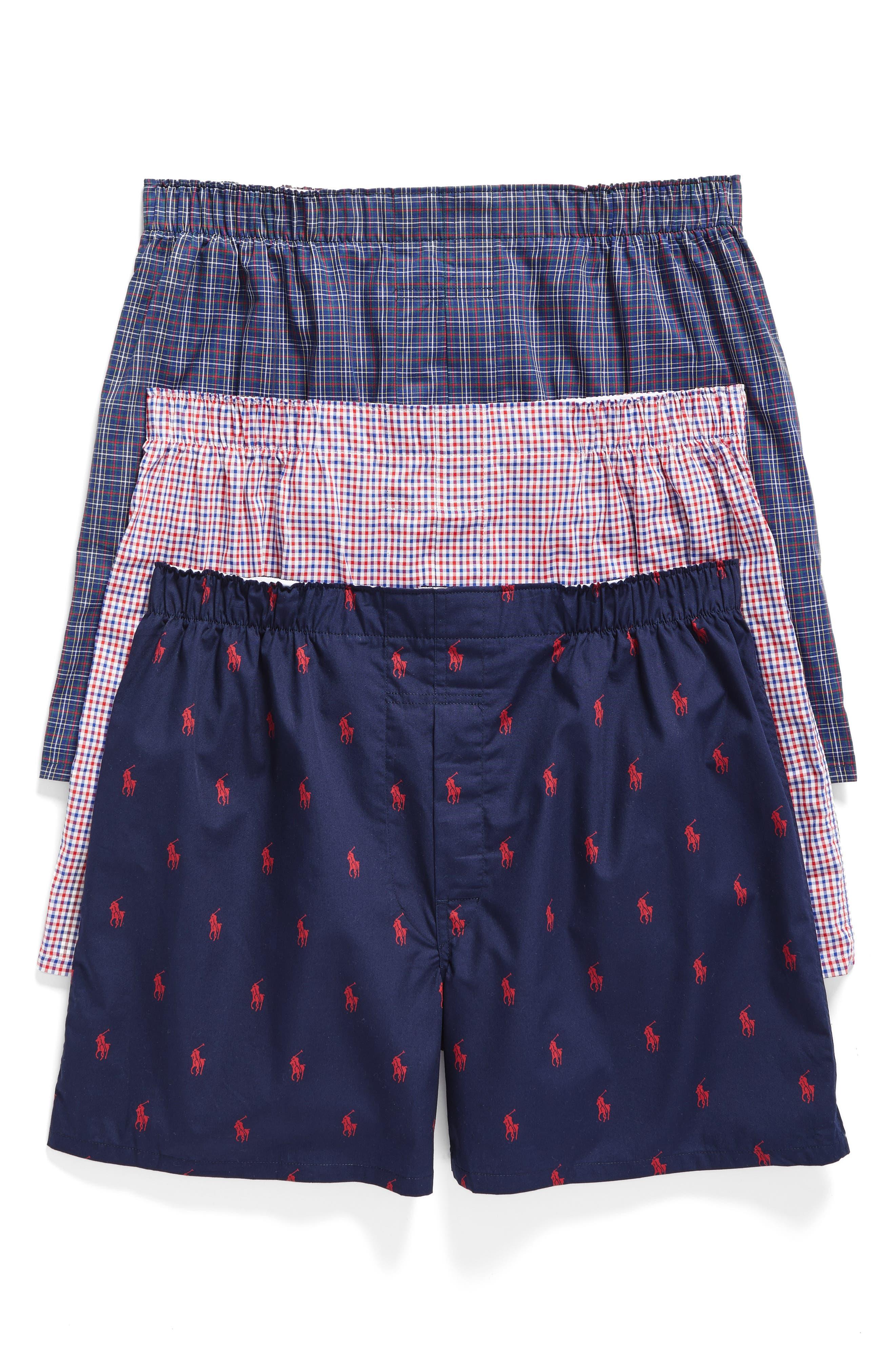 3-Pack Woven Cotton Boxers,                             Main thumbnail 1, color,                             Navy/ Red Plaid/ Blue Plaid