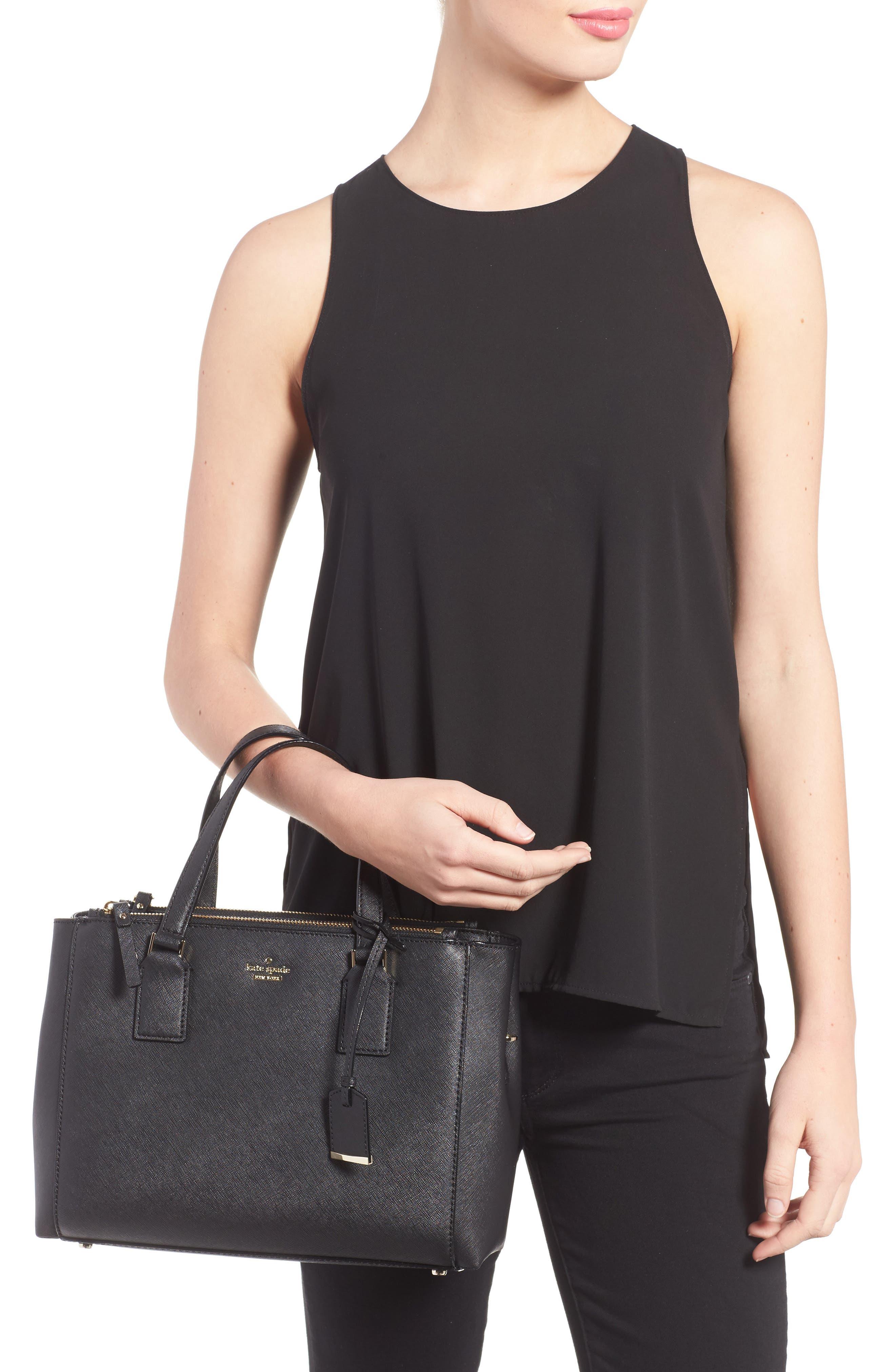 cameron street - teegan calfskin leather satchel,                             Alternate thumbnail 2, color,                             Black