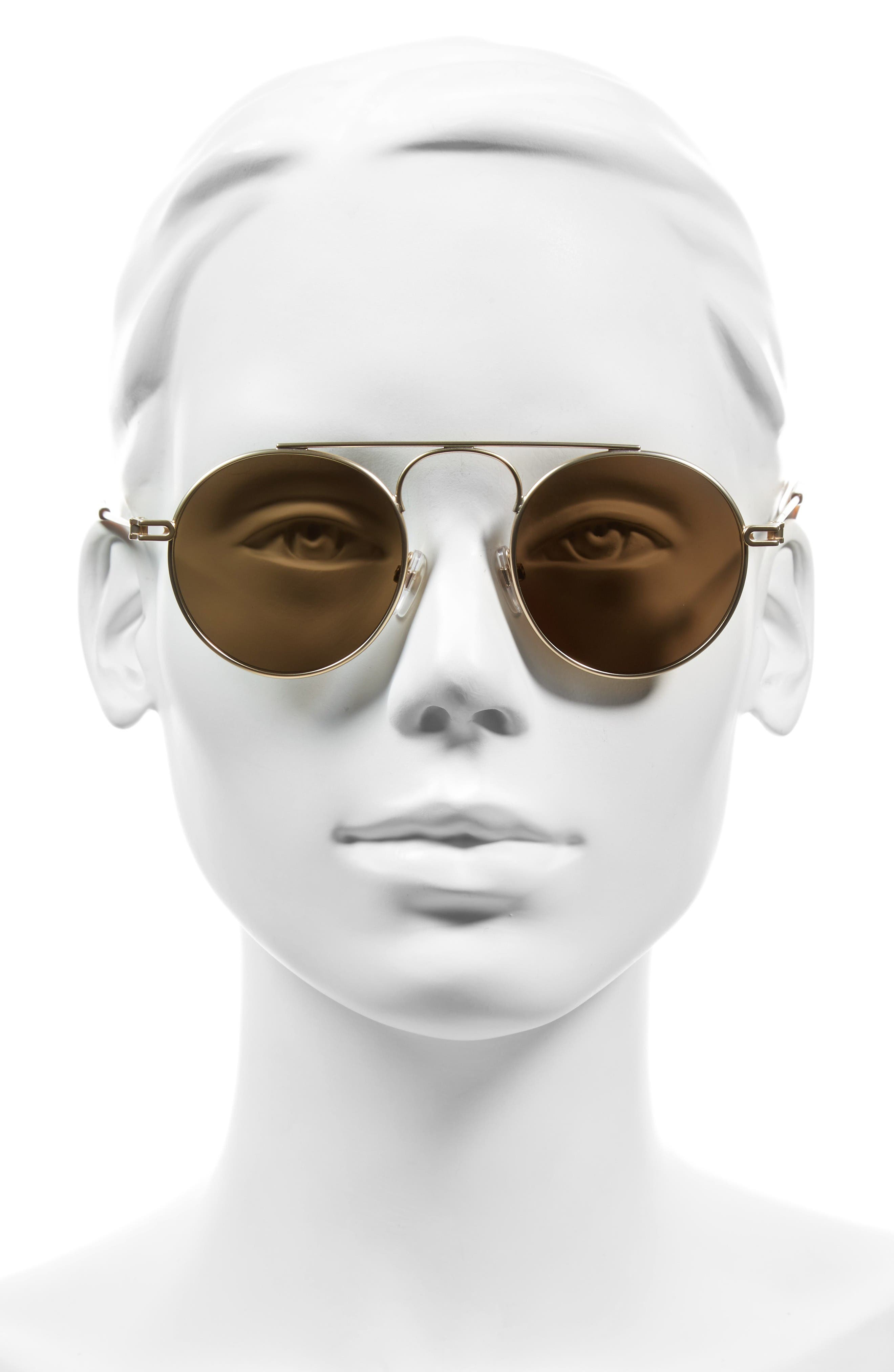 48mm Round Sunglasses,                             Alternate thumbnail 2, color,                             Gold