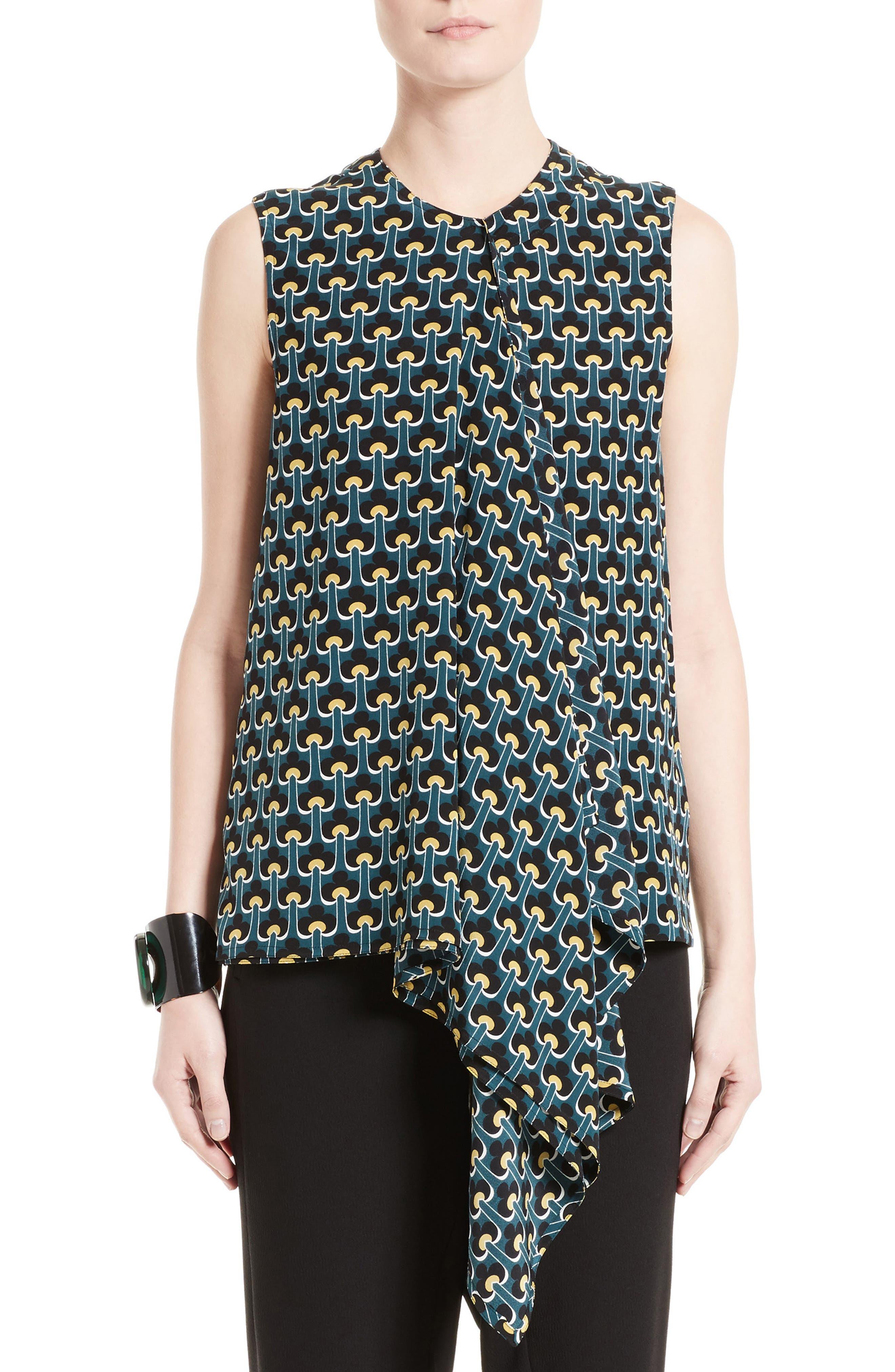 Marni Print Silk Ruffle Top