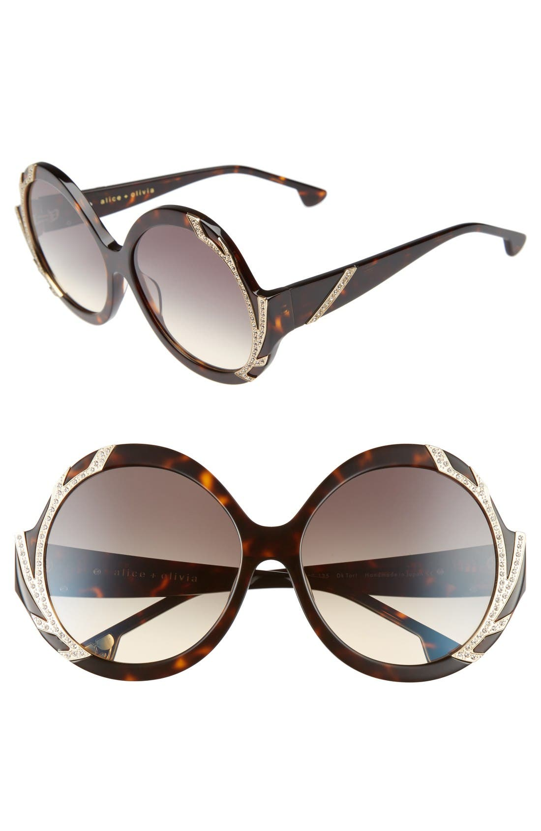 Main Image - Alice + Olivia Stacey Crystal 59mm Gradient Lens Round Sunglasses