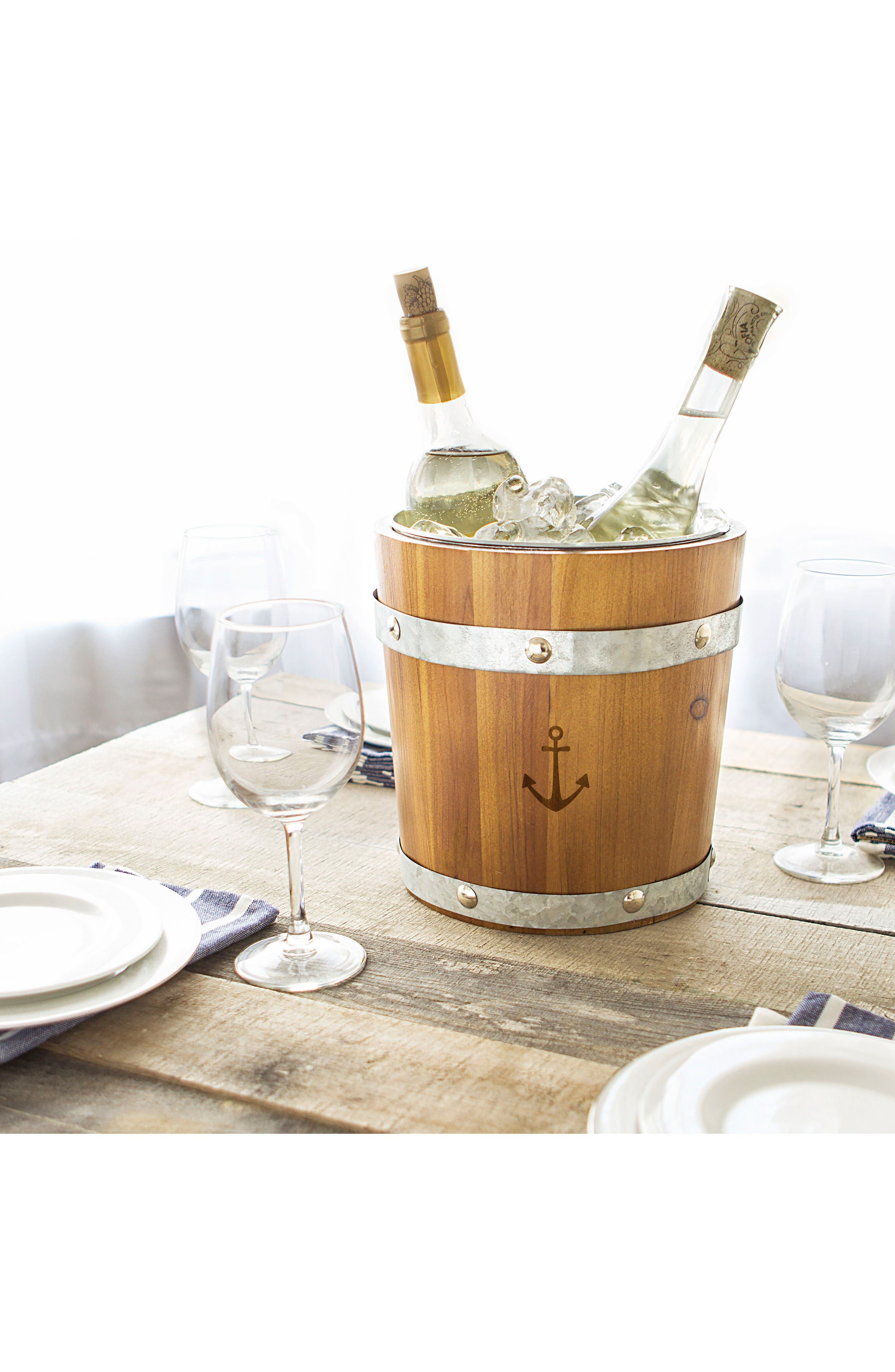 Rustic Anchor Ice Bucket,                             Alternate thumbnail 4, color,                             Brown