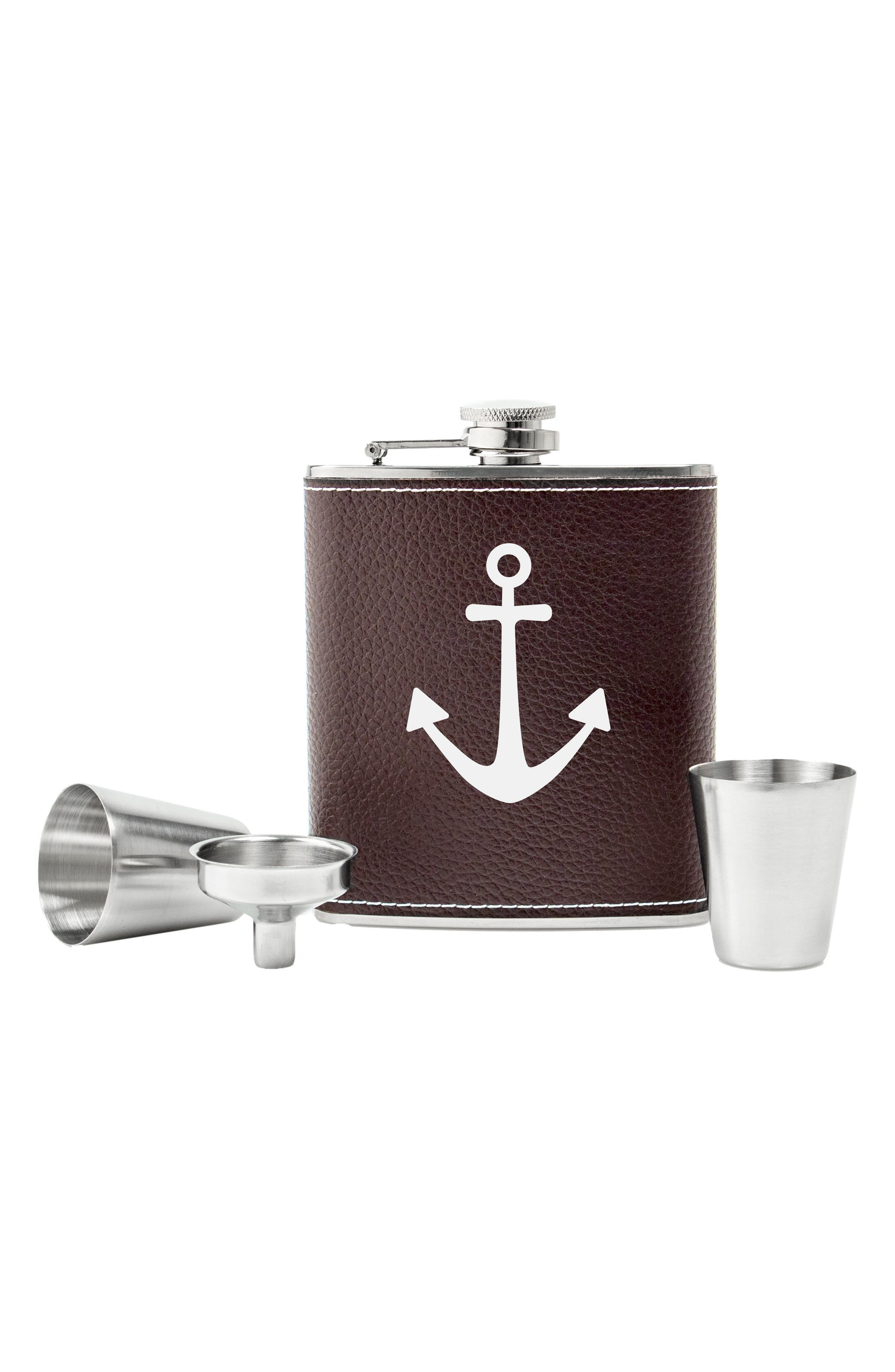 Leather Flask Set,                         Main,                         color, Brown - Anchor