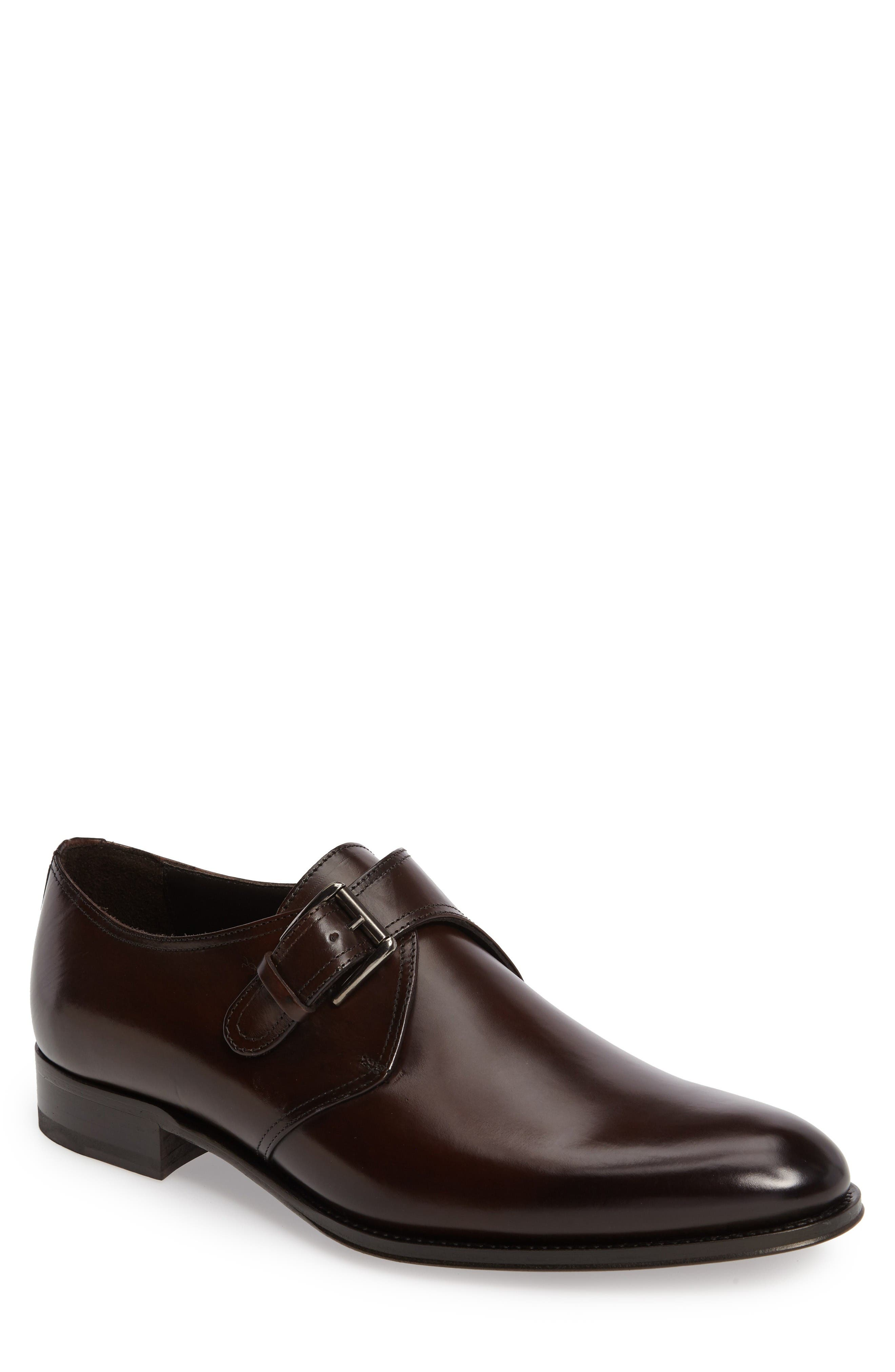Emmett Monk Strap Shoe,                             Main thumbnail 1, color,                             Maroon Leather