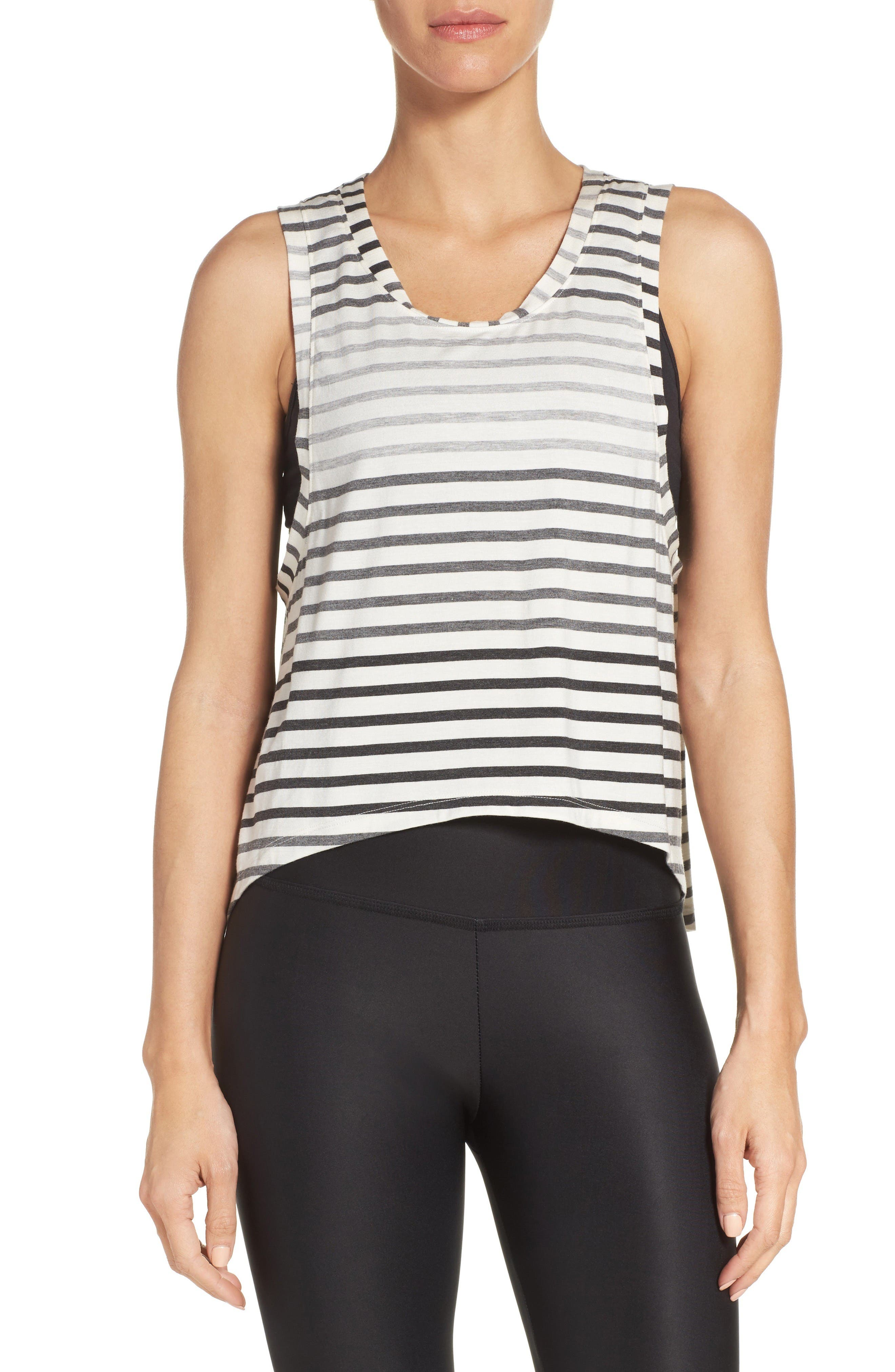 Bring It Ombré Muscle Tee,                         Main,                         color, Gray Ombre Stripe