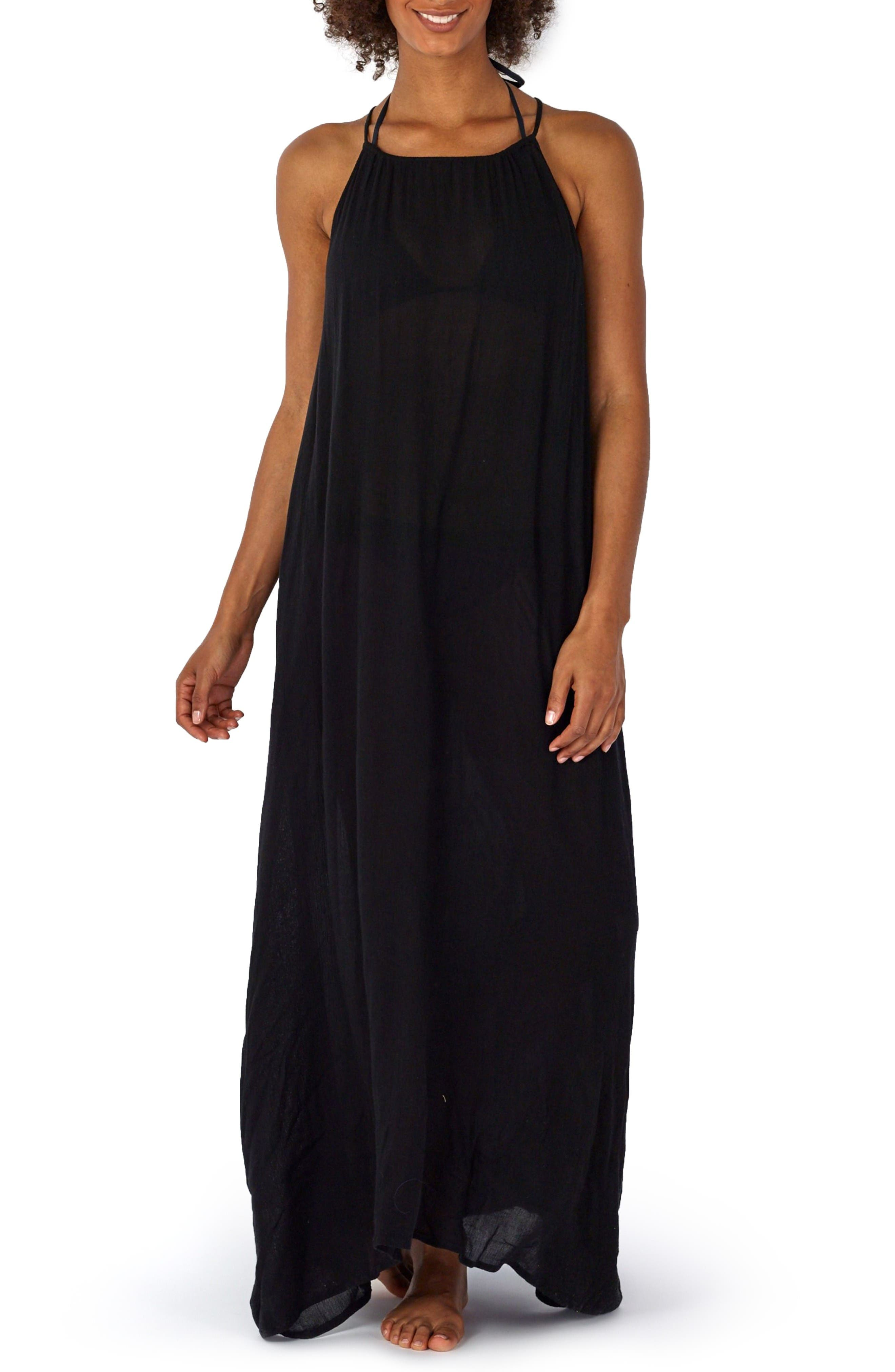 Cover-Up Maxi Dress,                         Main,                         color, Black
