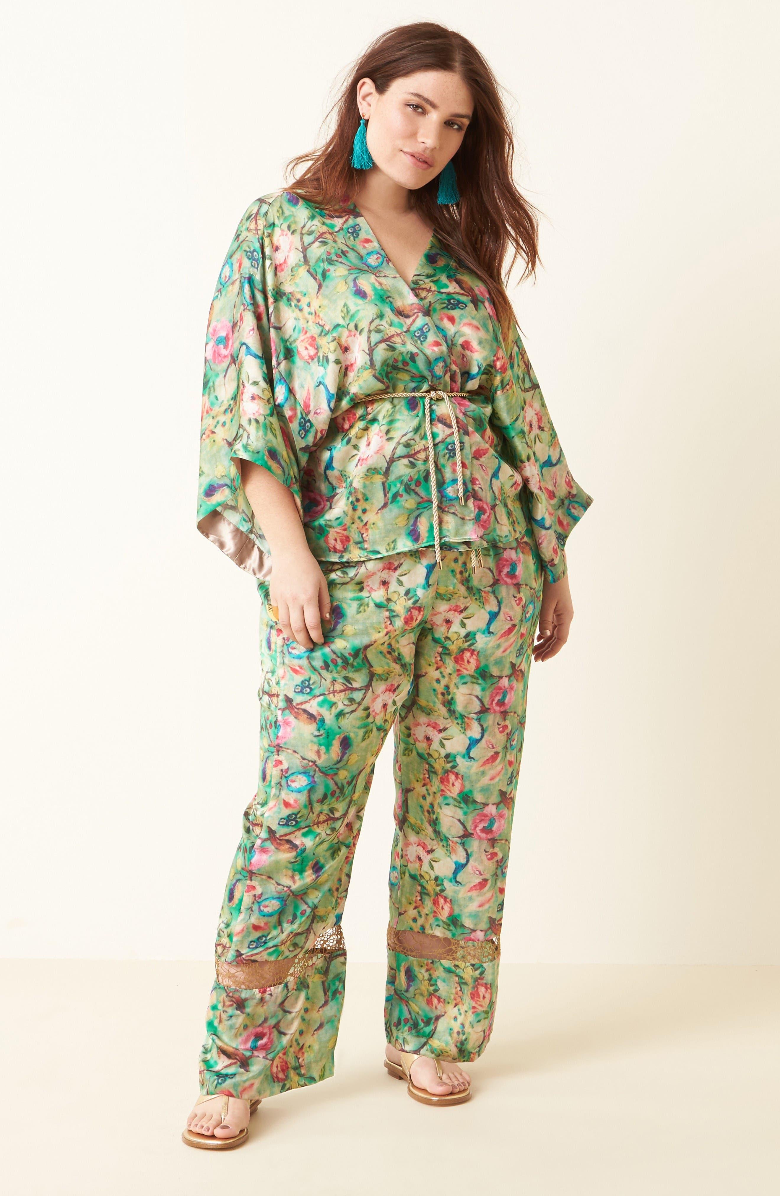 Alternate Image 2  - ELVI Beleted Floral Komono Jacket